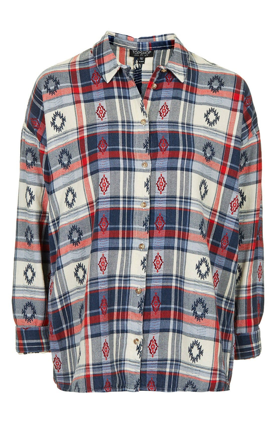 Alternate Image 3  - Topshop Check Embroidered Shirt