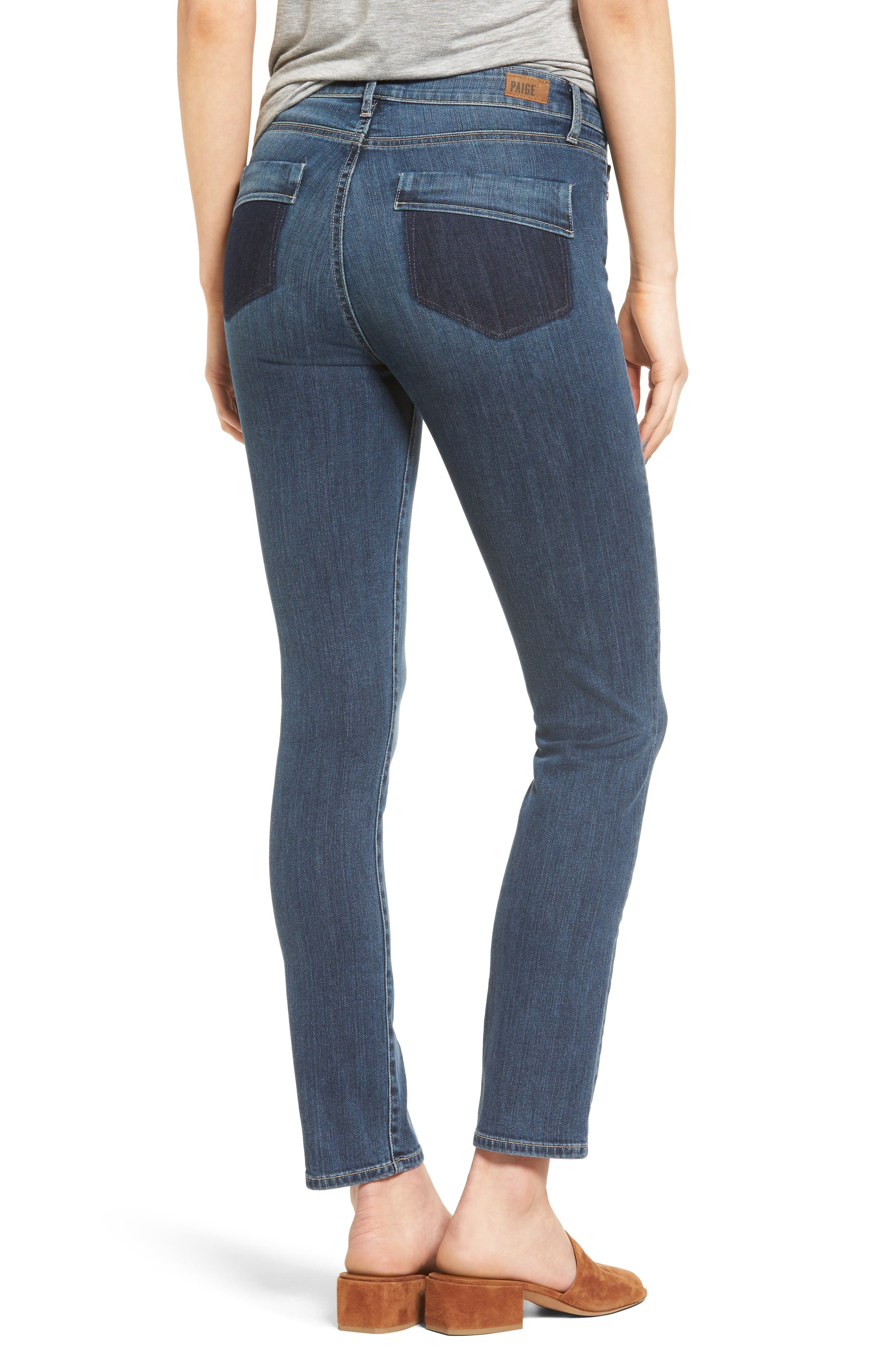Alternate Image 2  - PAIGE River High Waist Ankle Peg Straight Leg Jeans (Izzy Distressed)