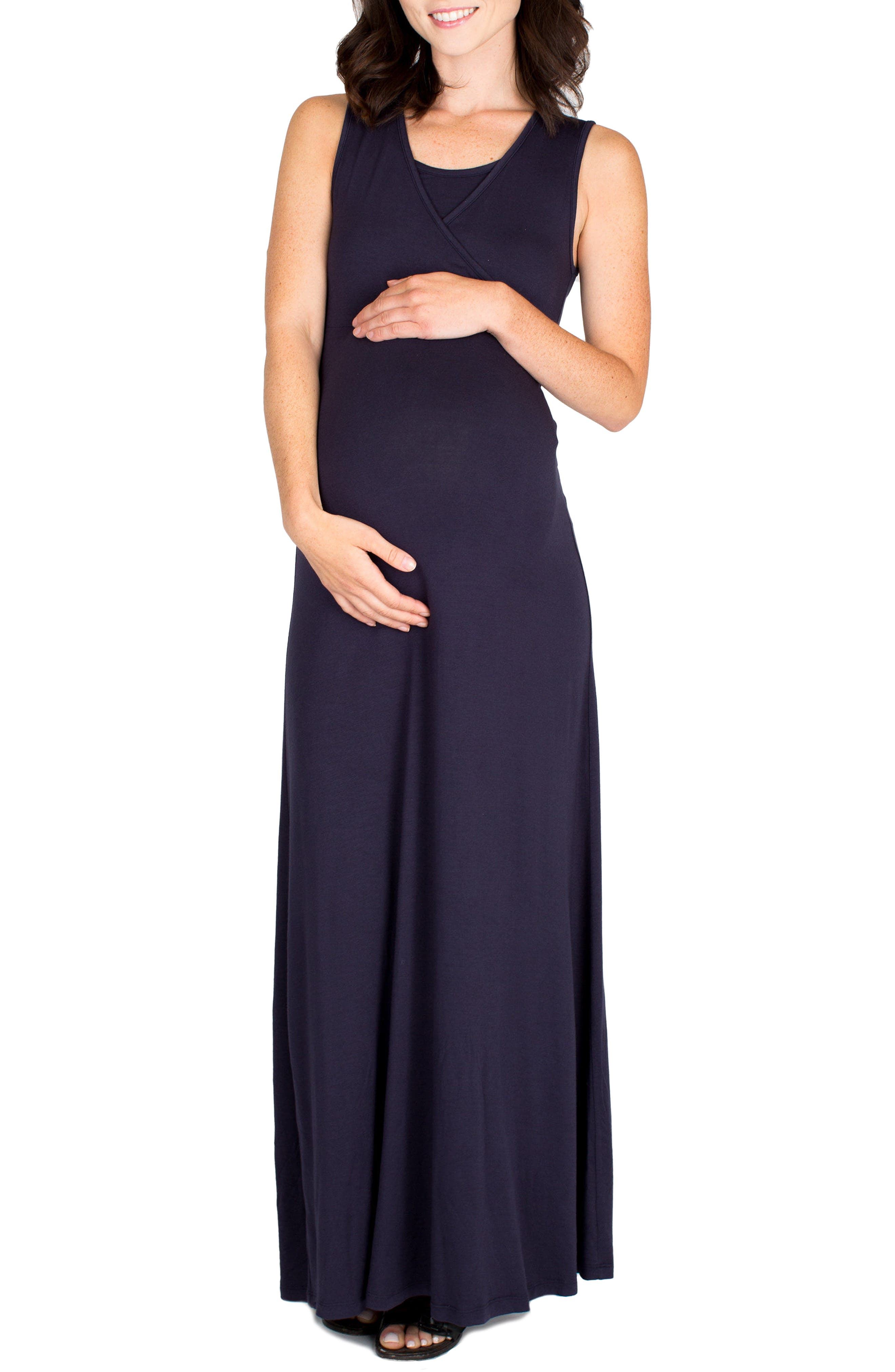 Jersey Maternity/Nursing Dress,                             Main thumbnail 1, color,                             Navy