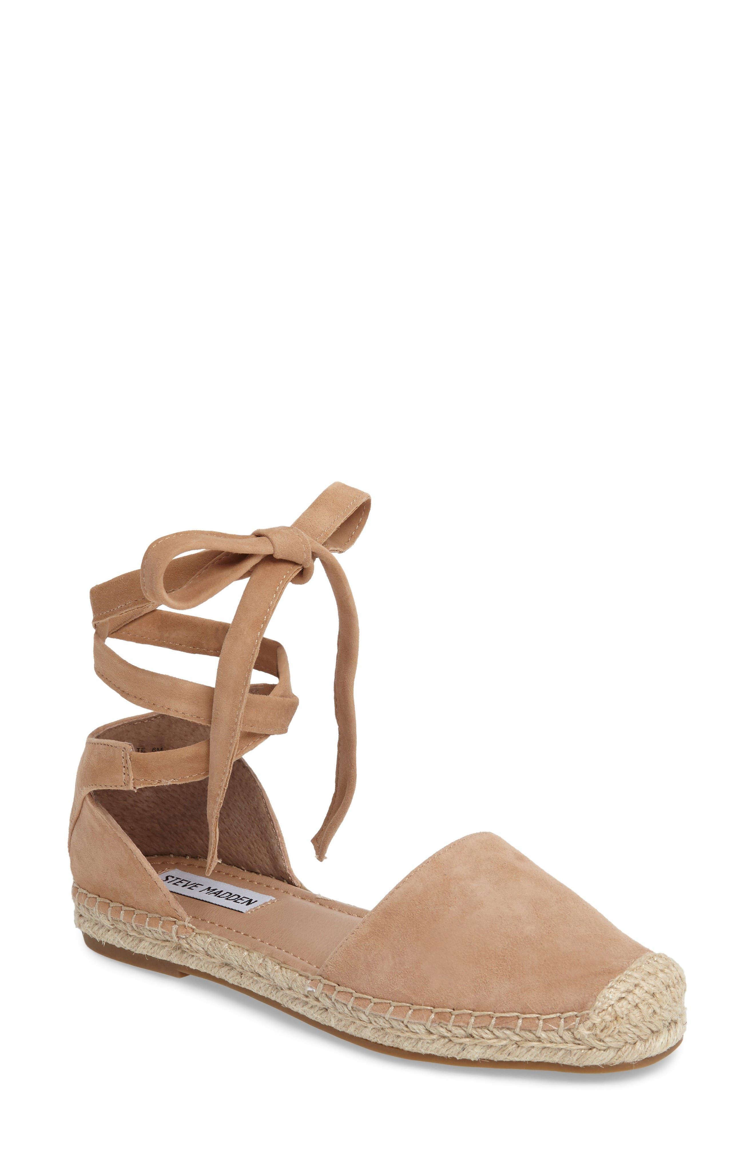 Alternate Image 1 Selected - Steve Madden Rosette Ankle Wrap Espadrille Flat (Women)