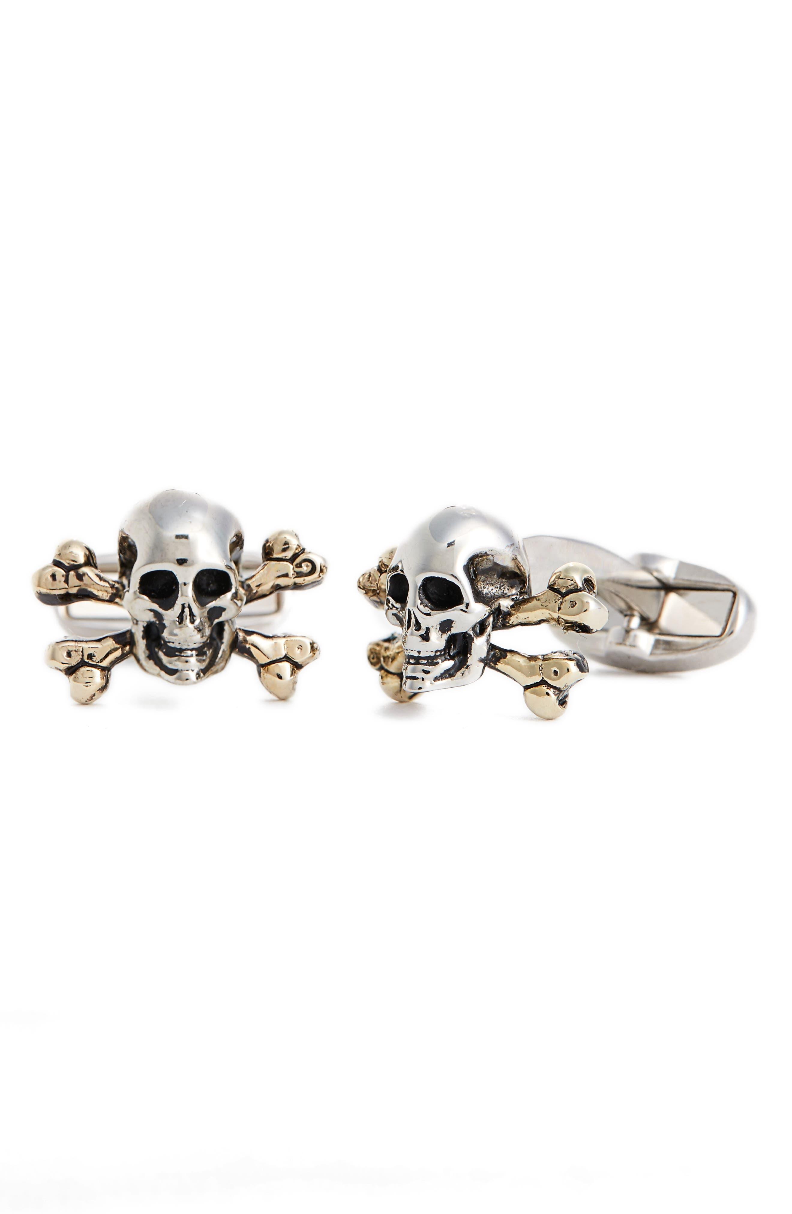 Skull & Crossbones Cuff Links,                         Main,                         color, Metallic Silver