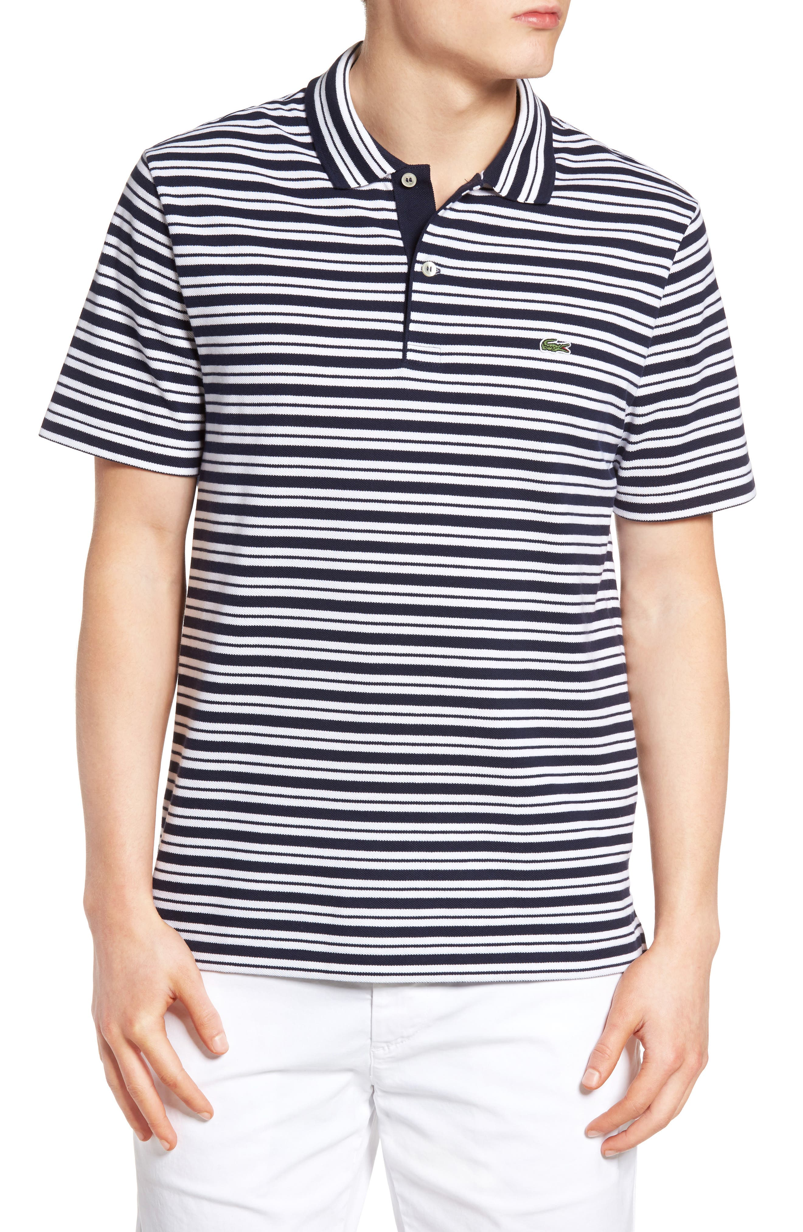 Striped Polo,                         Main,                         color, Navy Blue/ White