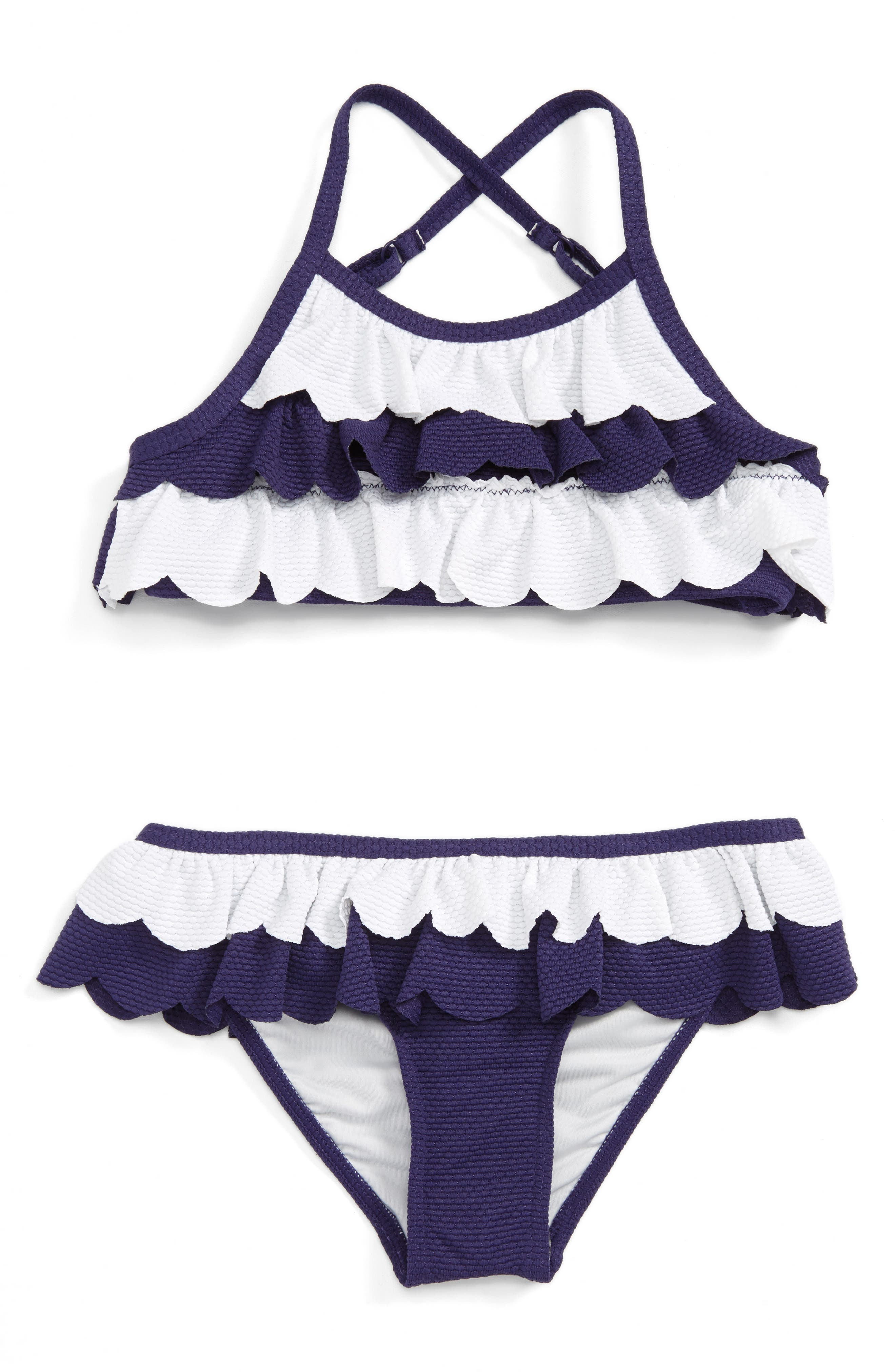 Scallop Two-Piece Swimsuit,                         Main,                         color, Navy Ribbon- White
