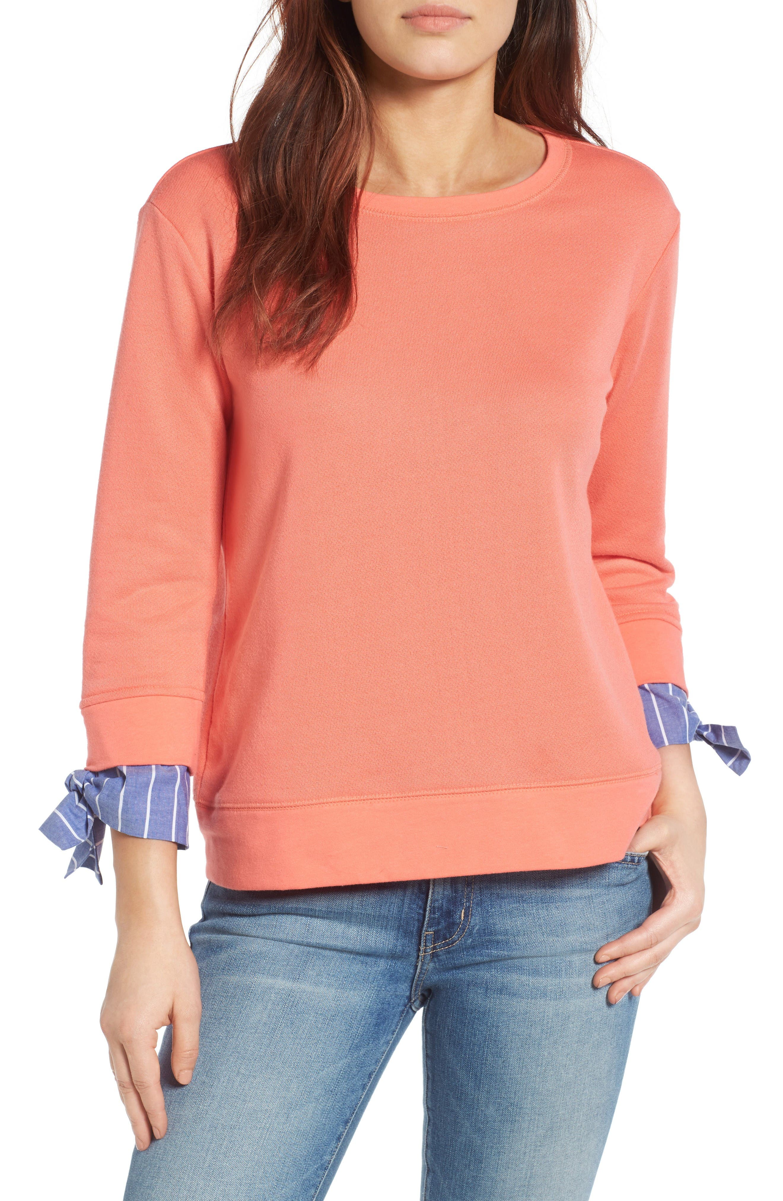 Alternate Image 1 Selected - Gibson Tie Sleeve Sweatshirt (Regular & Petite)