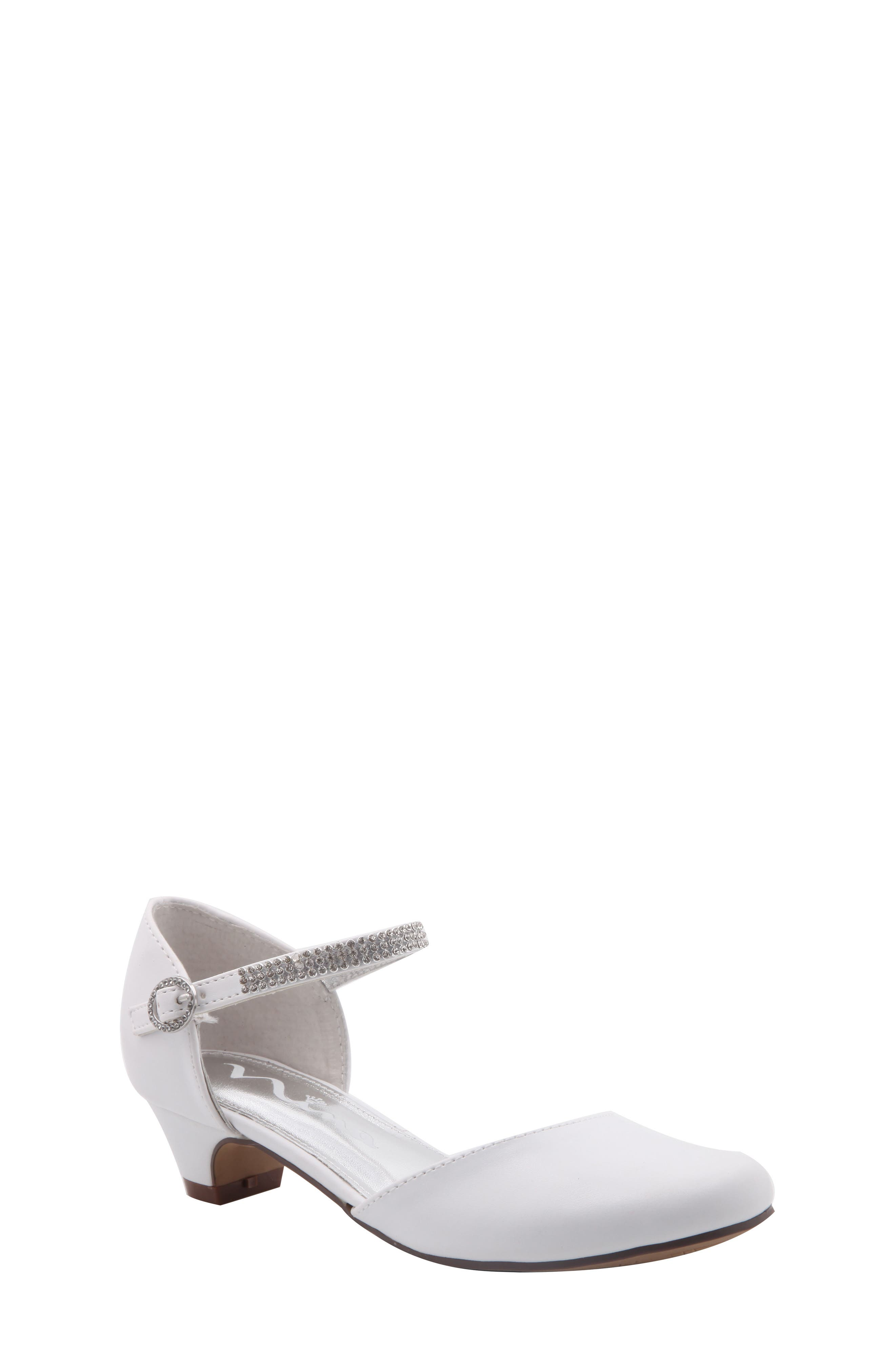 Cera Low Embellished Pump,                         Main,                         color, White Smooth