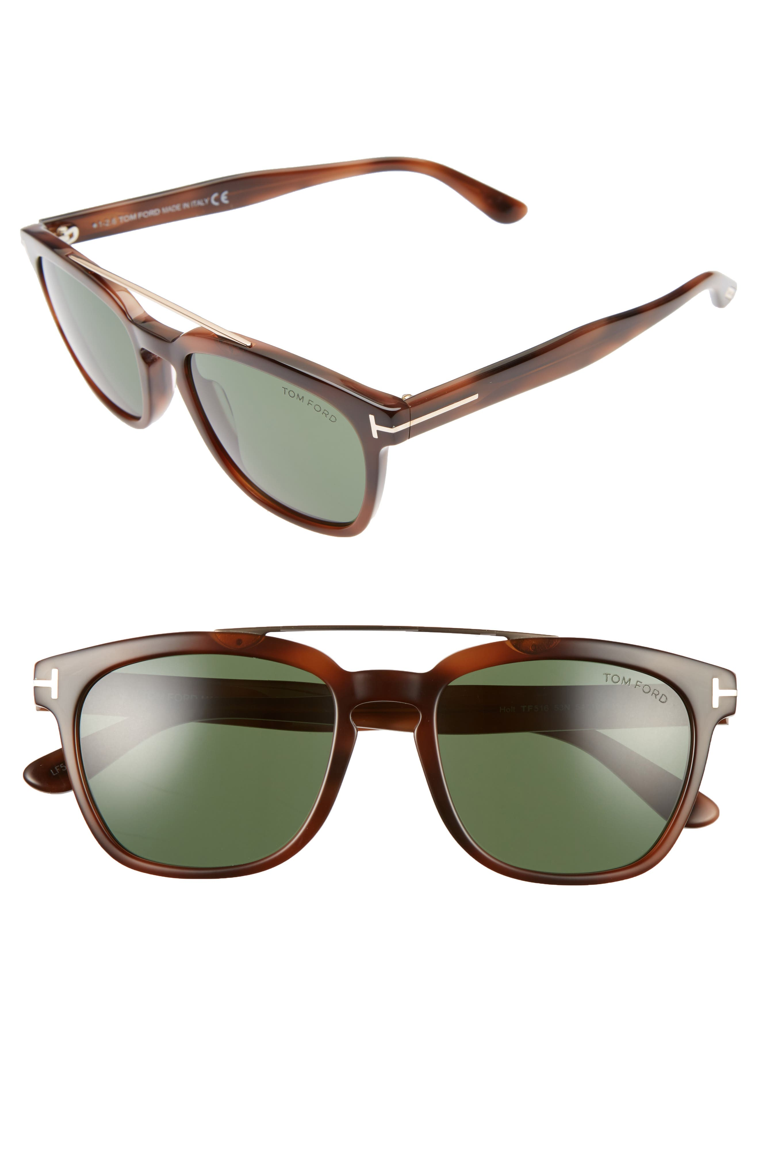 54mm Double Brow Bar Sunglasses,                         Main,                         color, Blonde/ Rose Gold/ Green