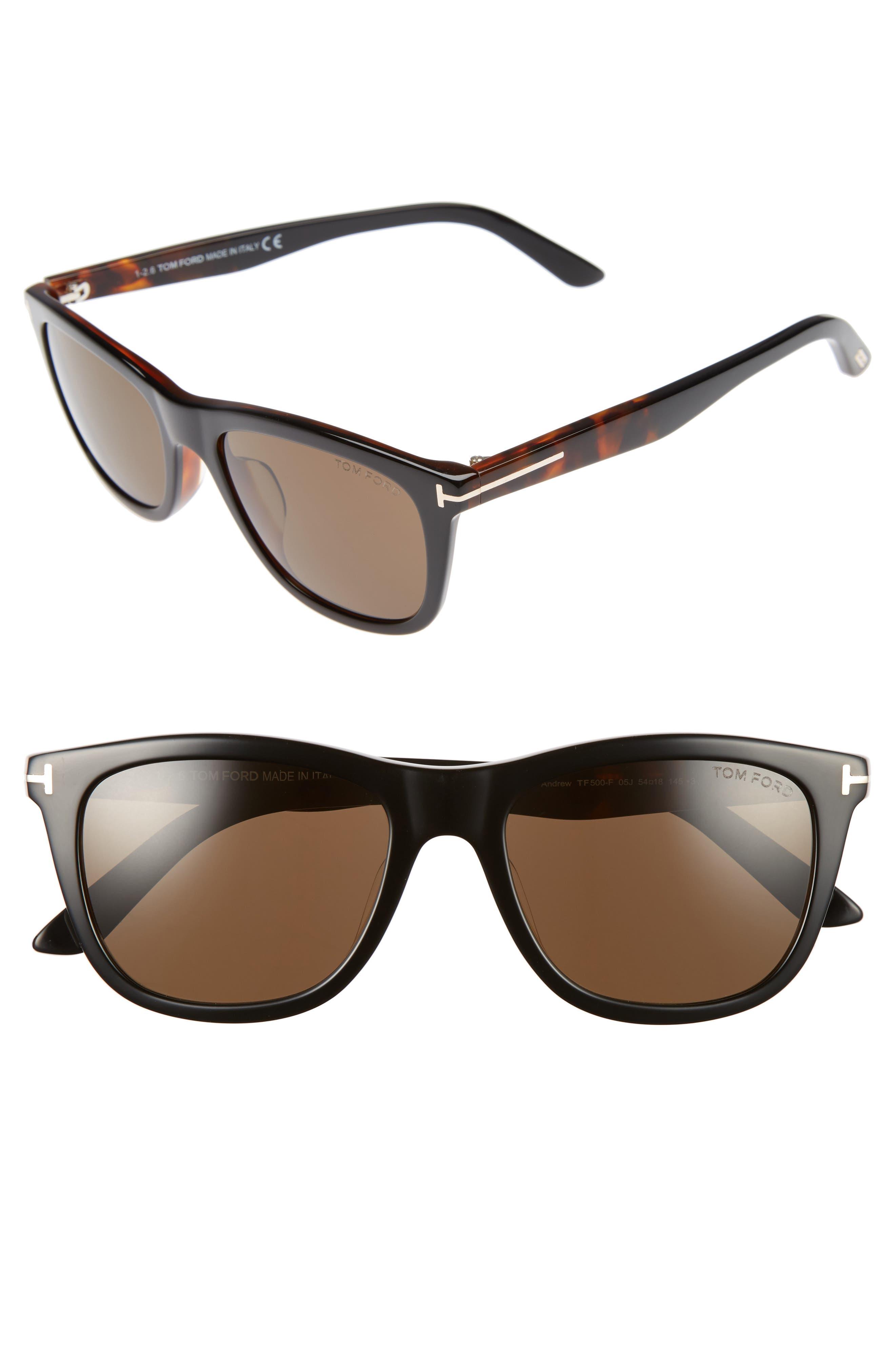 Andrew 54mm Rectangular Sunglasses,                         Main,                         color, Black/ Havana