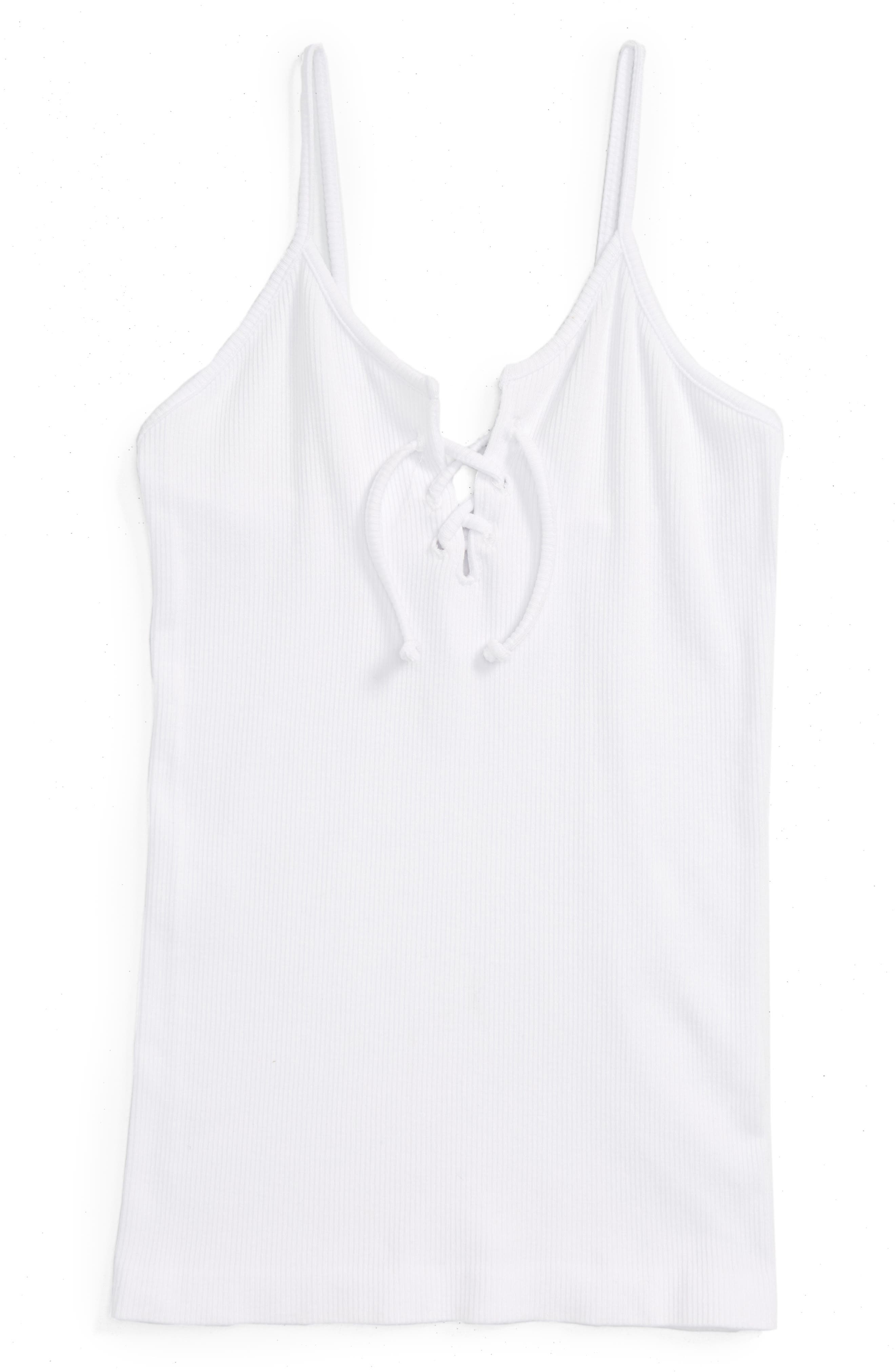Lace-Up Tank,                         Main,                         color, White