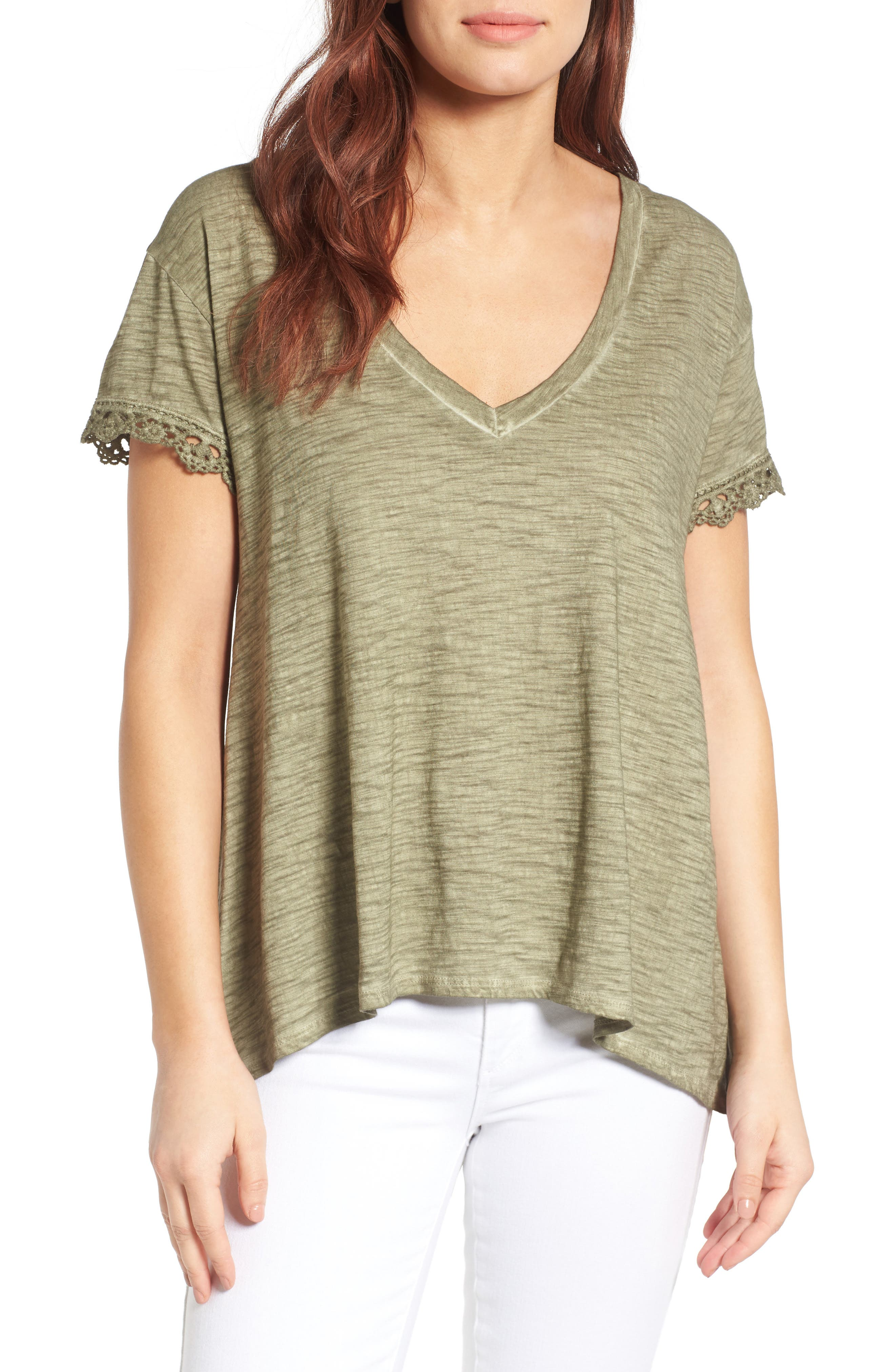 Press Lace Trim High/Low Tee