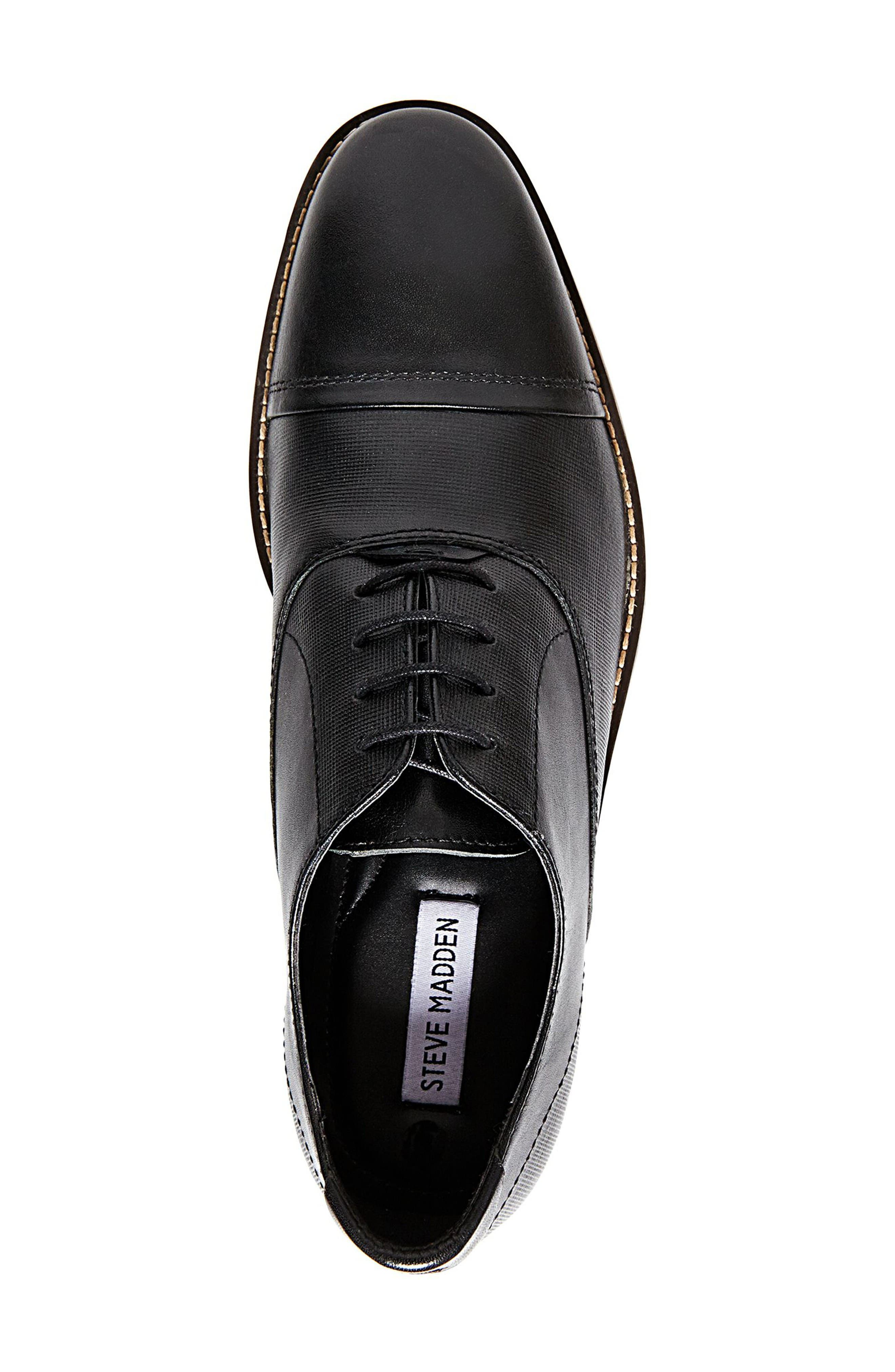 Finnich Textured Cap Toe Oxford,                             Alternate thumbnail 3, color,                             Black