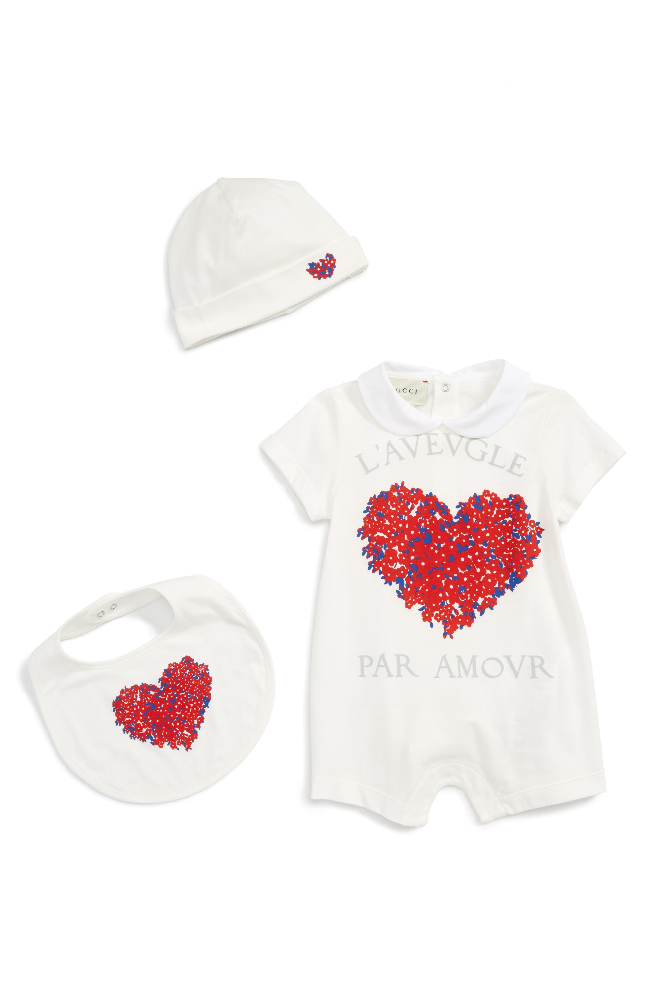 Gucci Heart Bodysuit, Bib & Hat Set (Baby Girls)