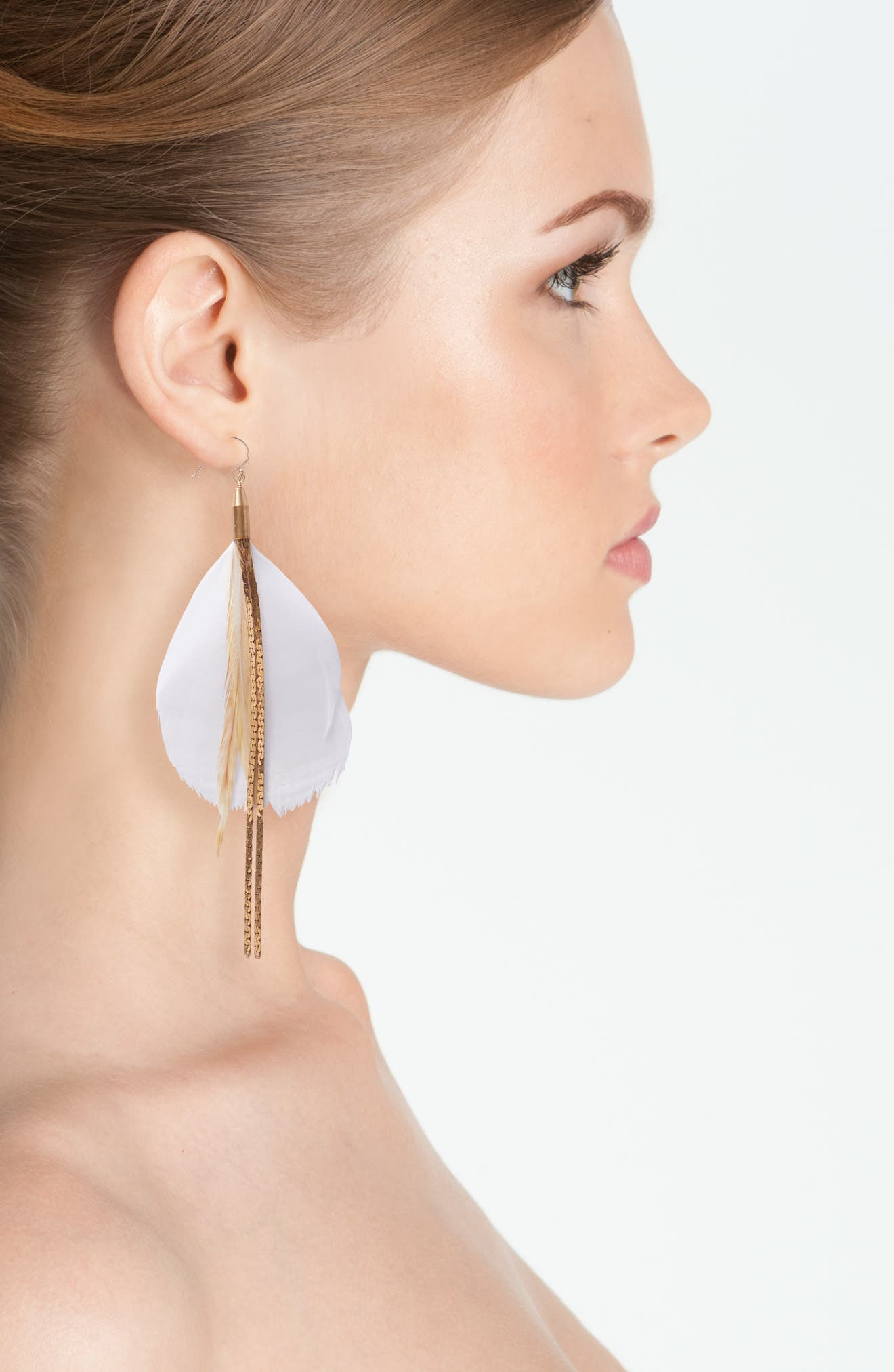 Alternate Image 2  - Serefina Vintage Feather Drop Earrings