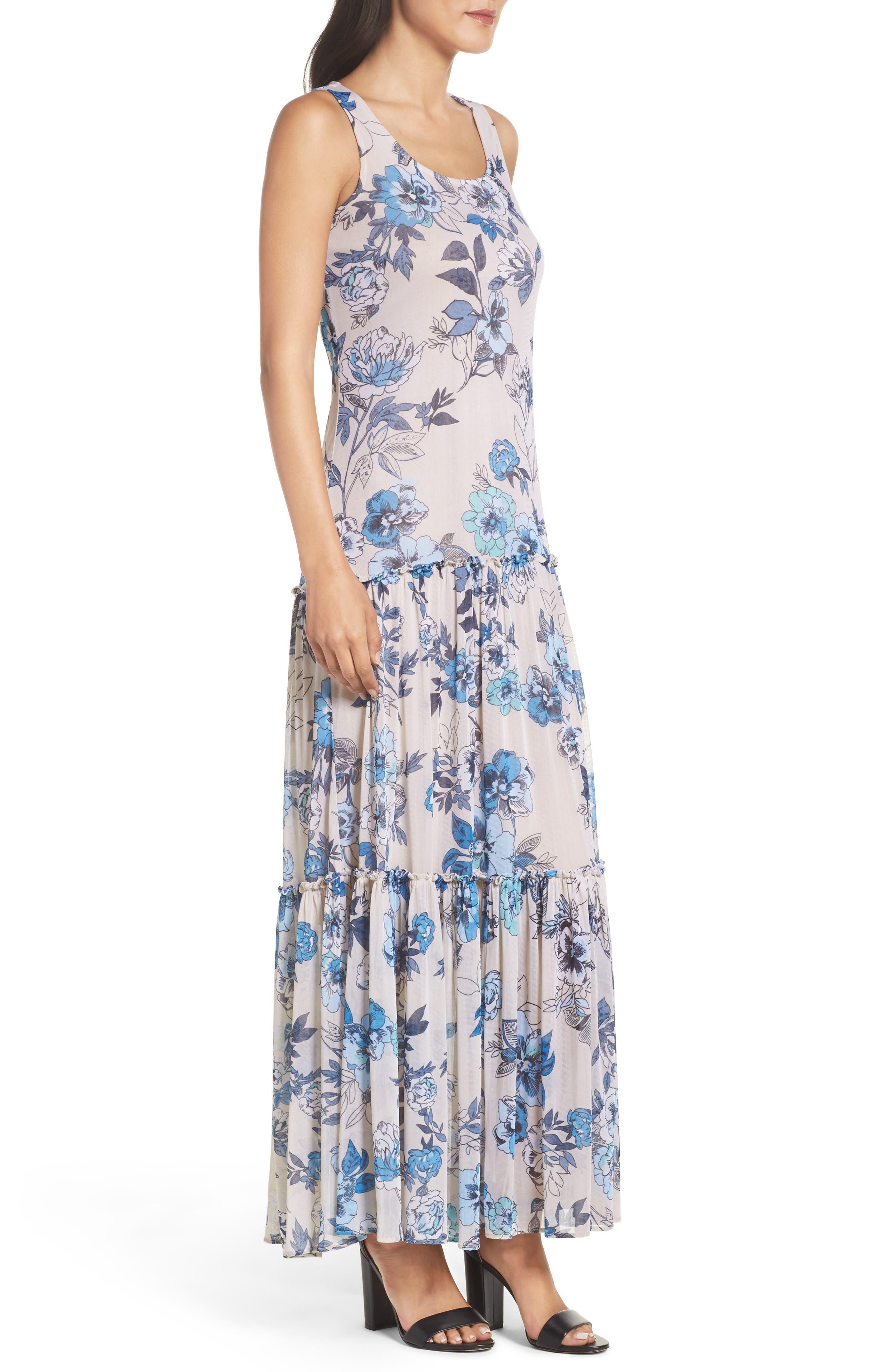Floral Maxi Dress,                             Alternate thumbnail 3, color,                             Porcelain