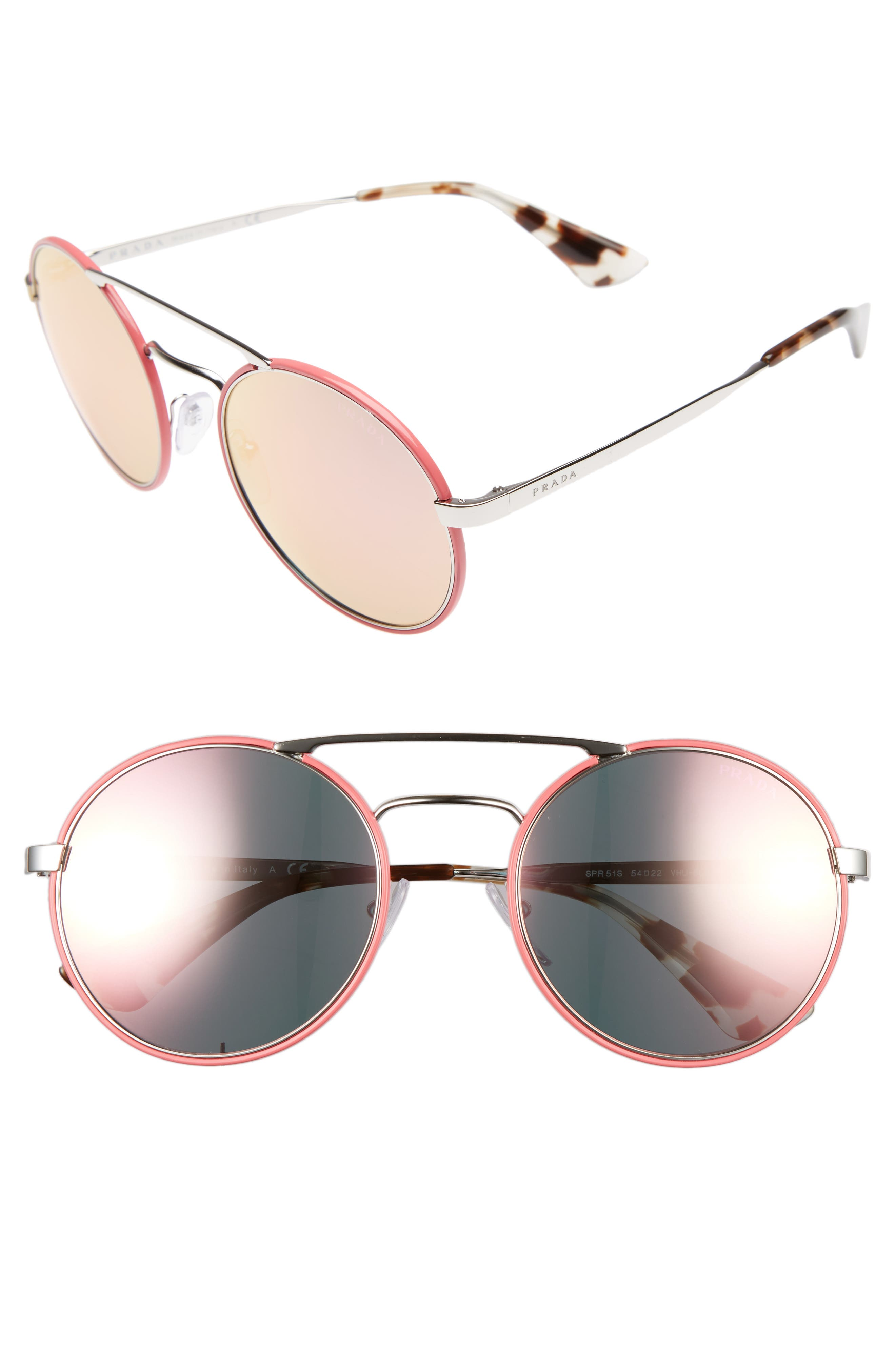 54mm Round Sunglasses,                             Main thumbnail 1, color,                             Silver/ Pink