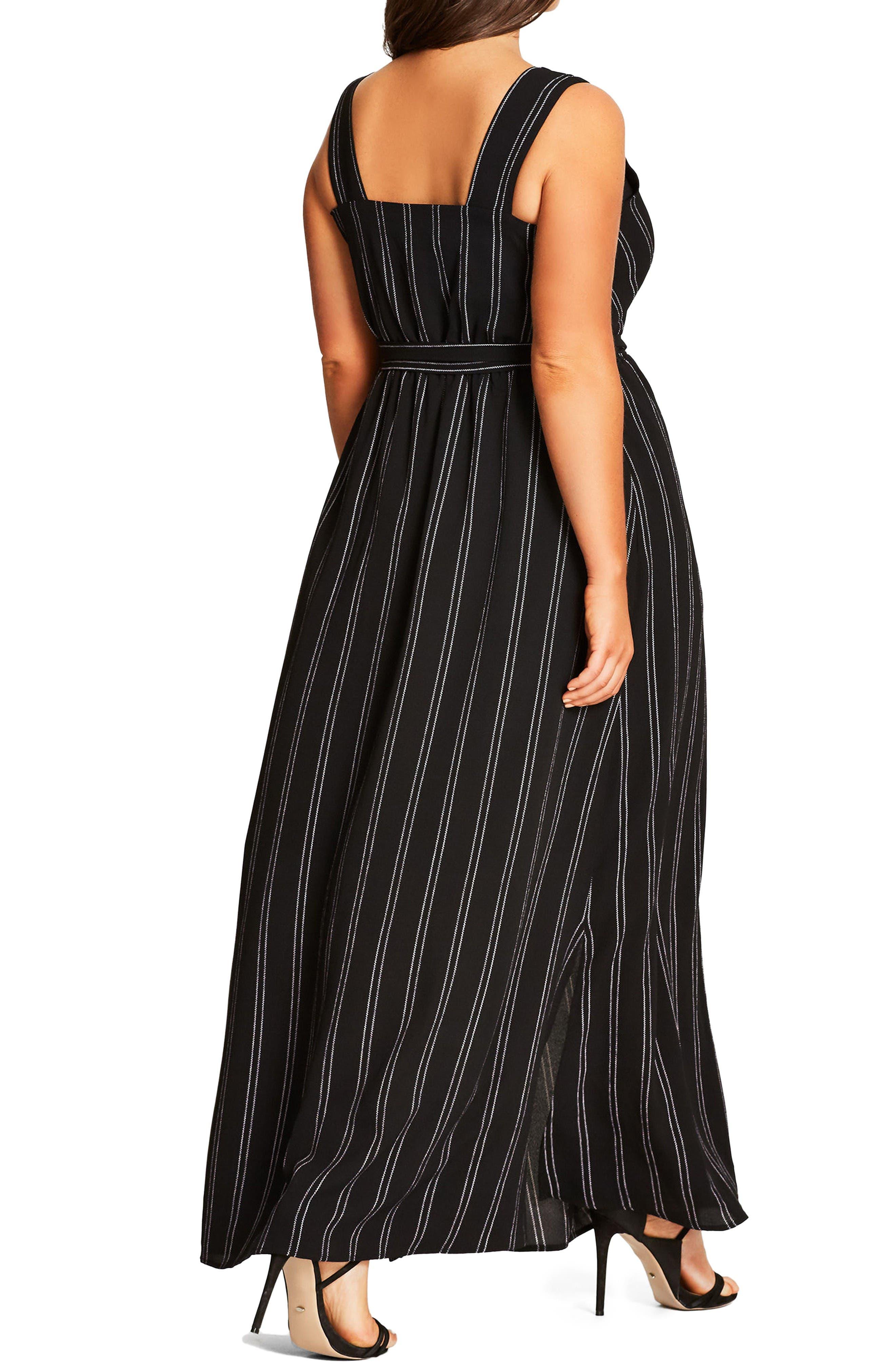 Alternate Image 2  - City Chic Pin Stripe Maxi Dress (Plus Size)