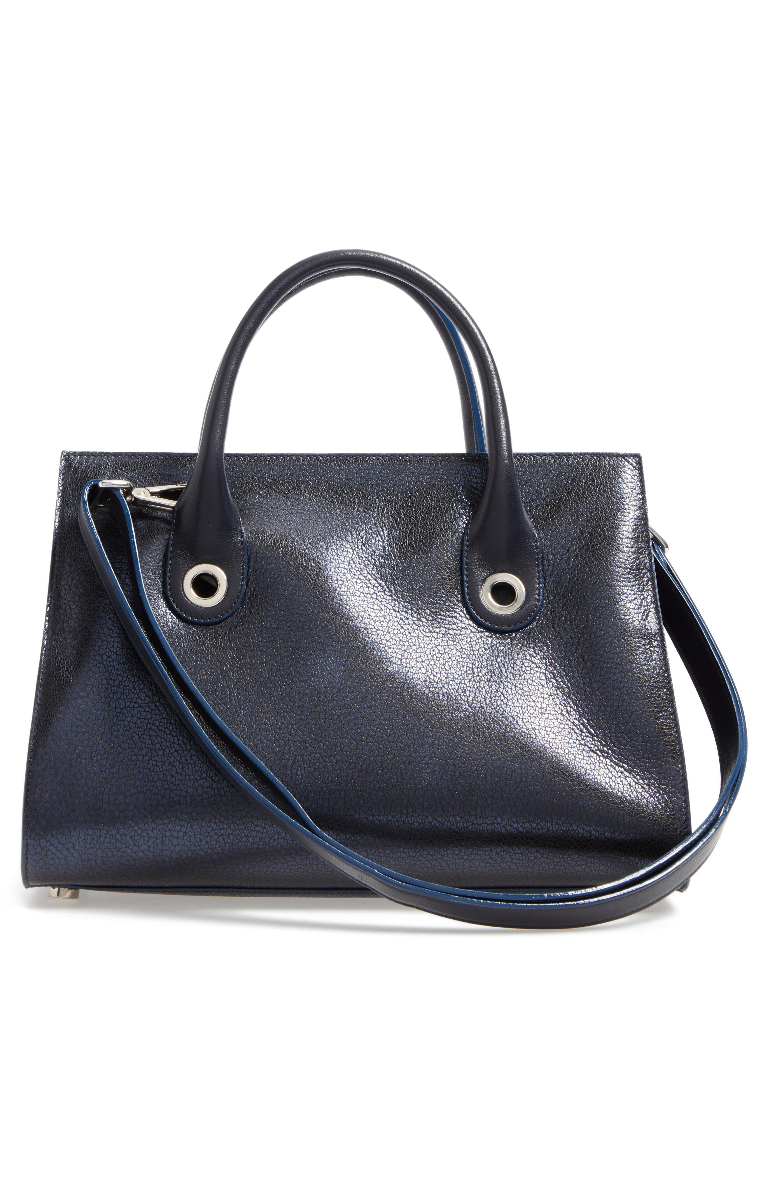 Medium Riley Metallic Leather Tote,                             Alternate thumbnail 3, color,                             Navy