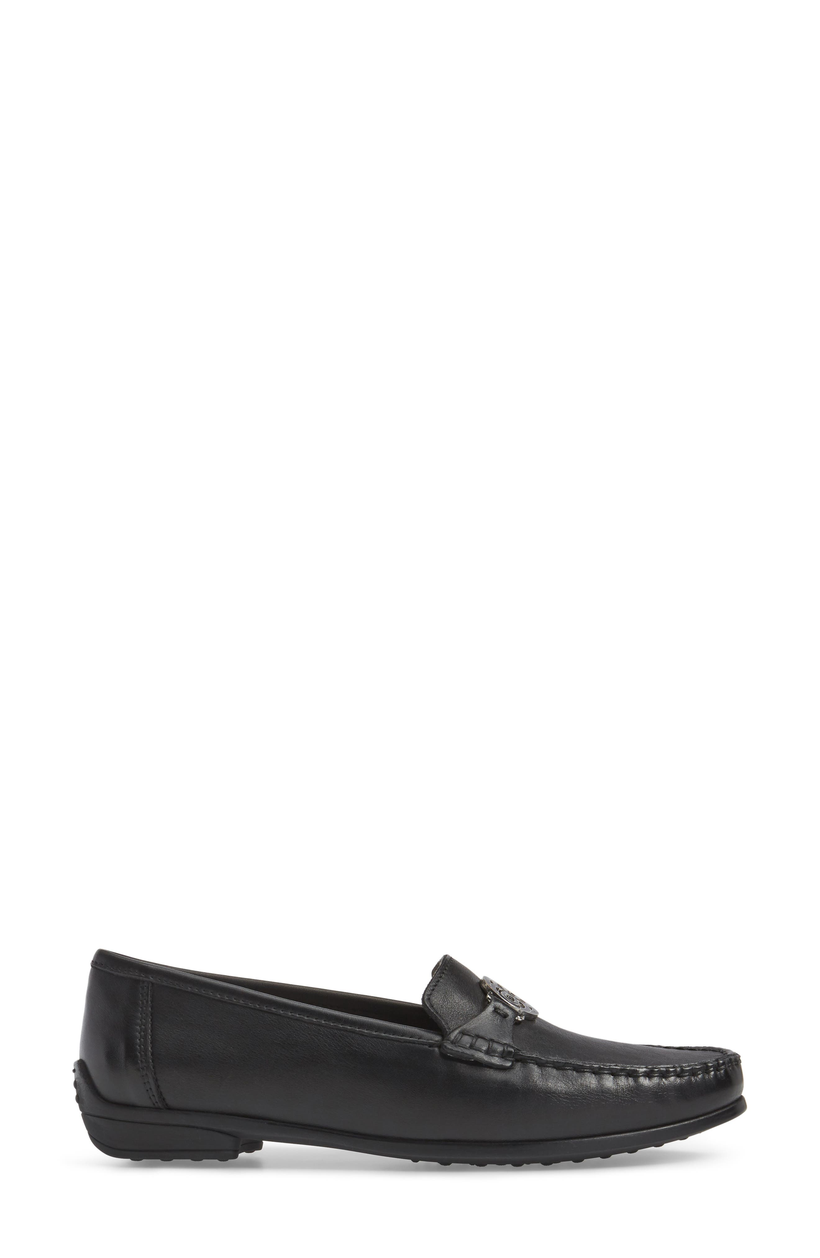 Blanche Loafer,                             Alternate thumbnail 3, color,                             Black Leather