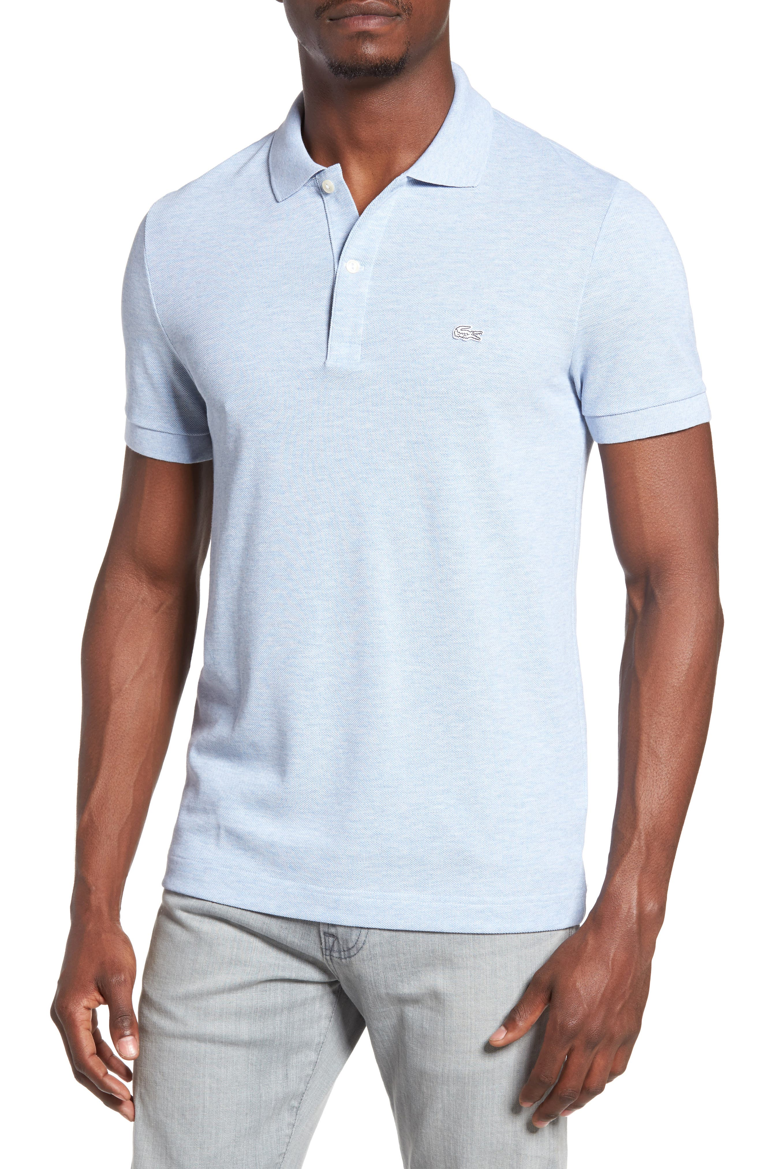 Alternate Image 1 Selected - Lacoste 'White Croc' Regular Fit Piqué Polo (Nordstrom Exclusive)