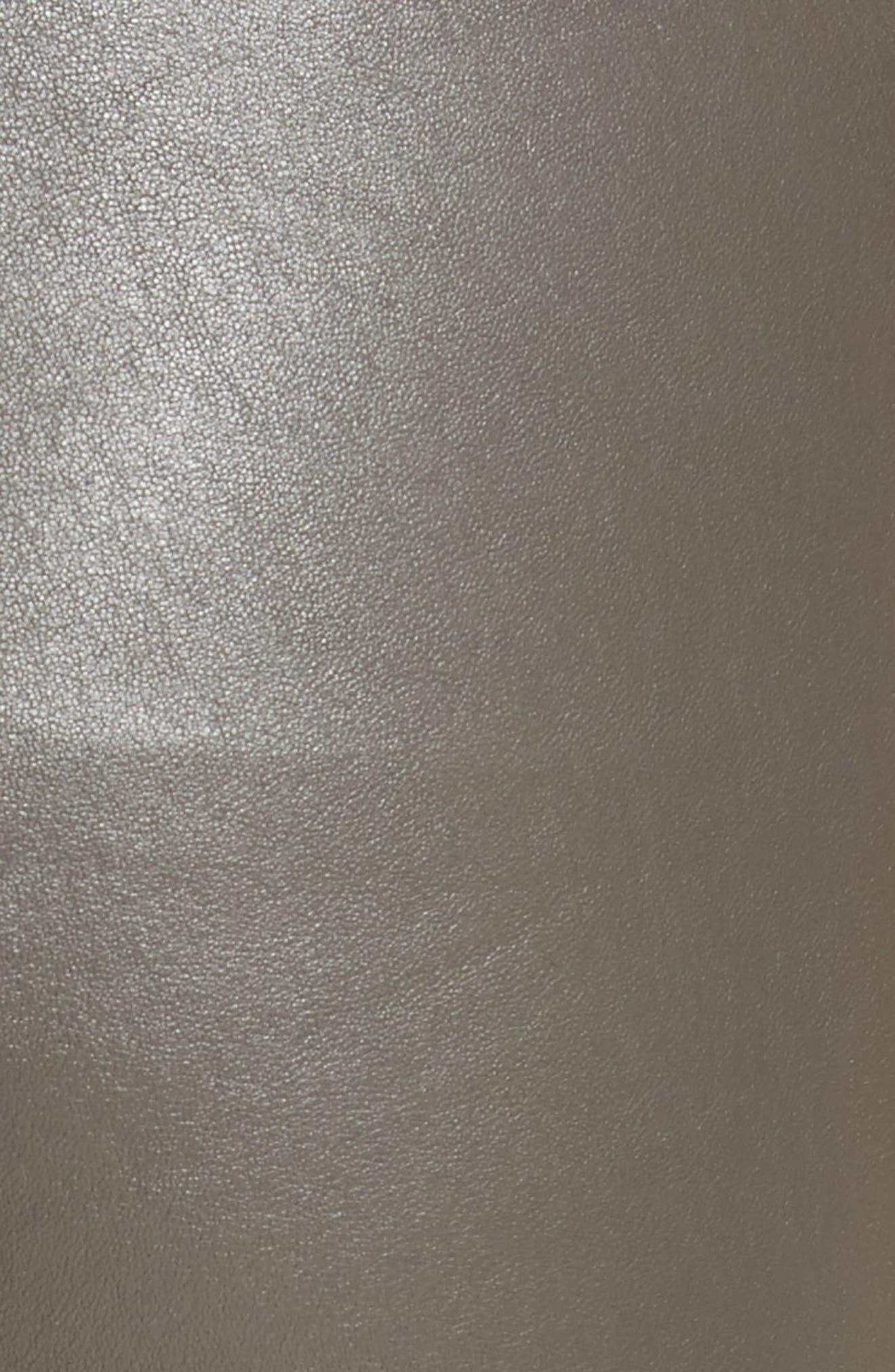 Slit Hem Crop Leather Pants,                             Alternate thumbnail 5, color,                             Graphite