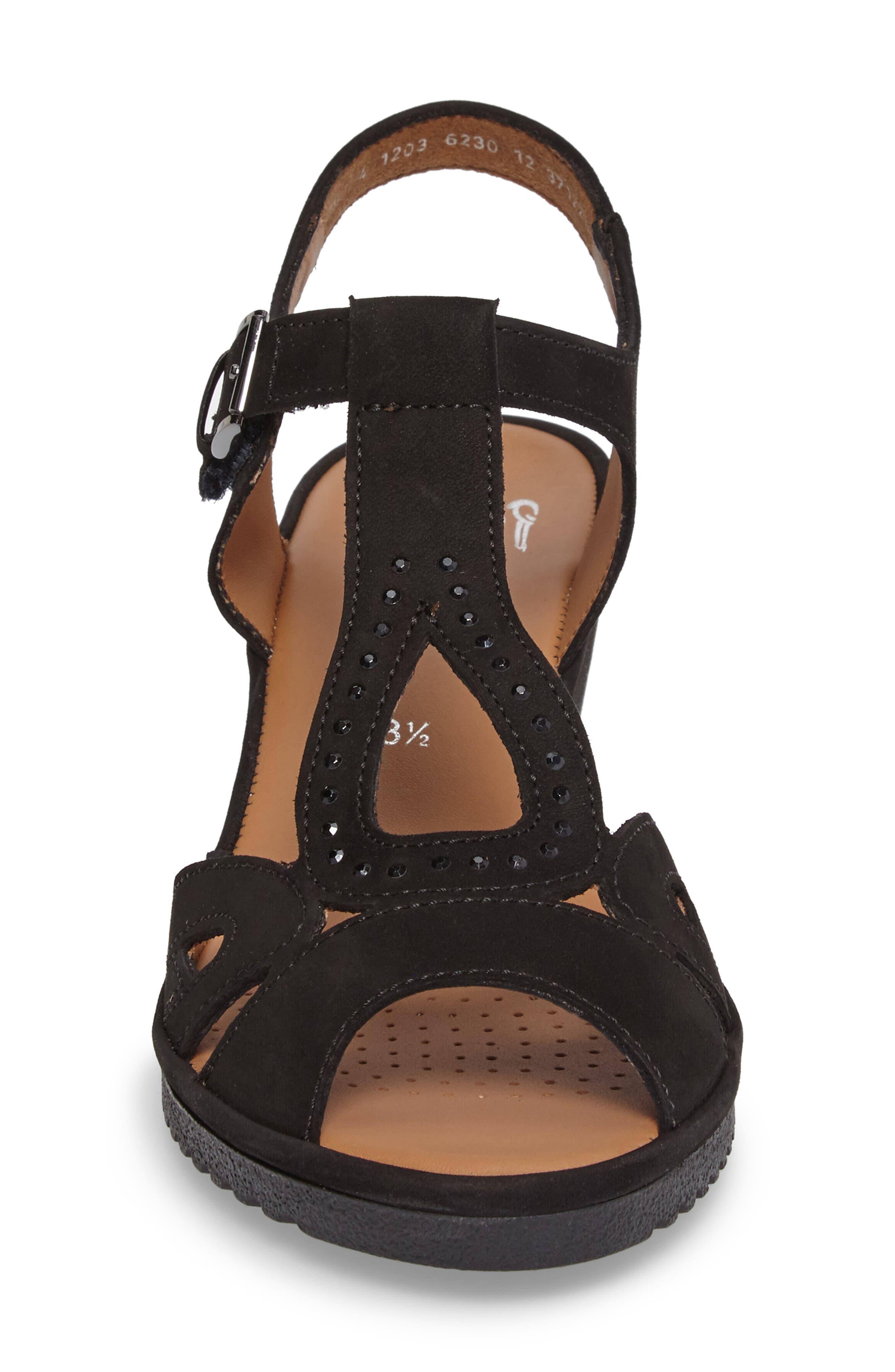 Wedge Sandal,                             Alternate thumbnail 4, color,                             Black
