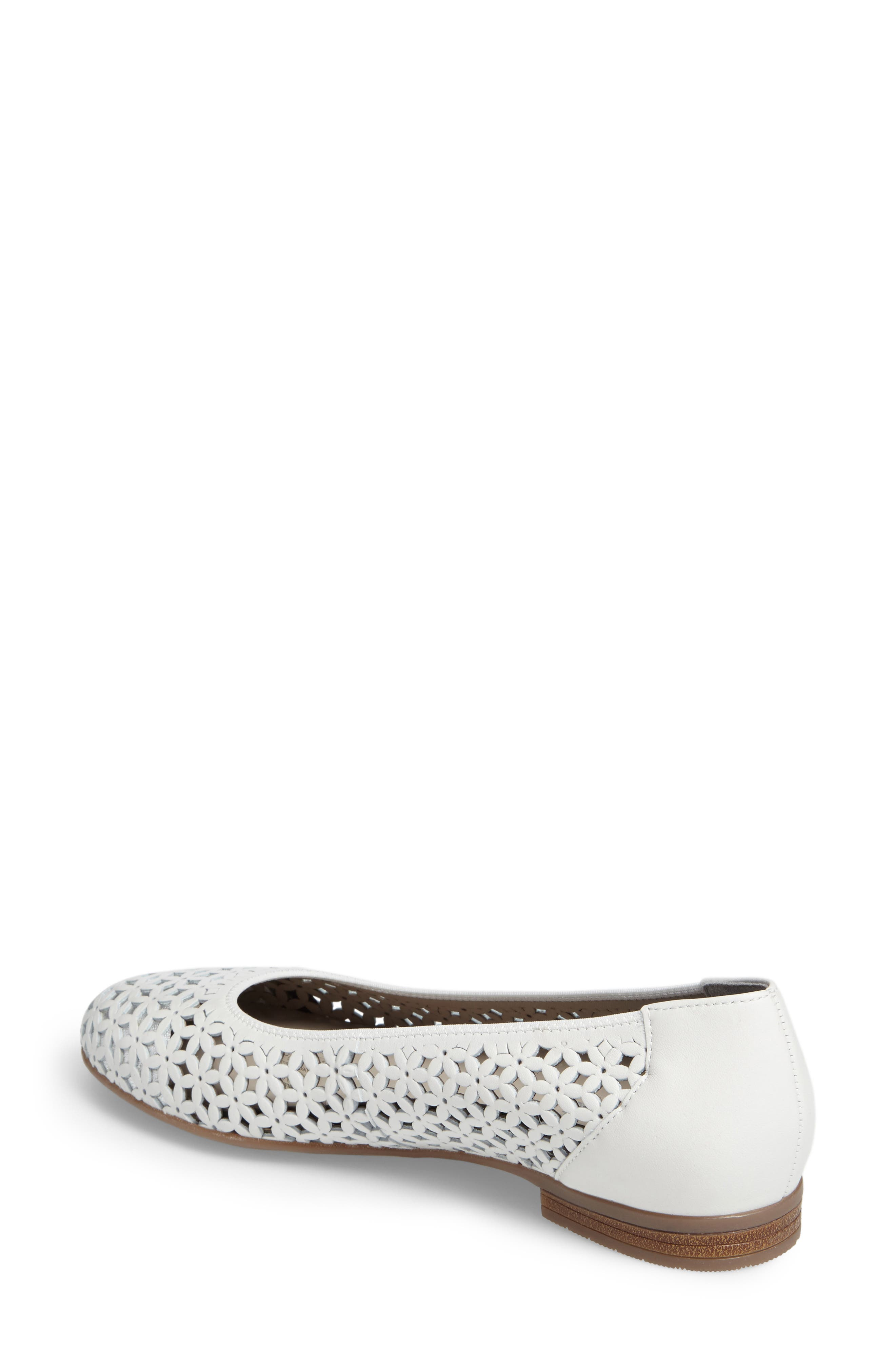 Stephanie Perforated Ballet Flat,                             Alternate thumbnail 2, color,                             White Leather