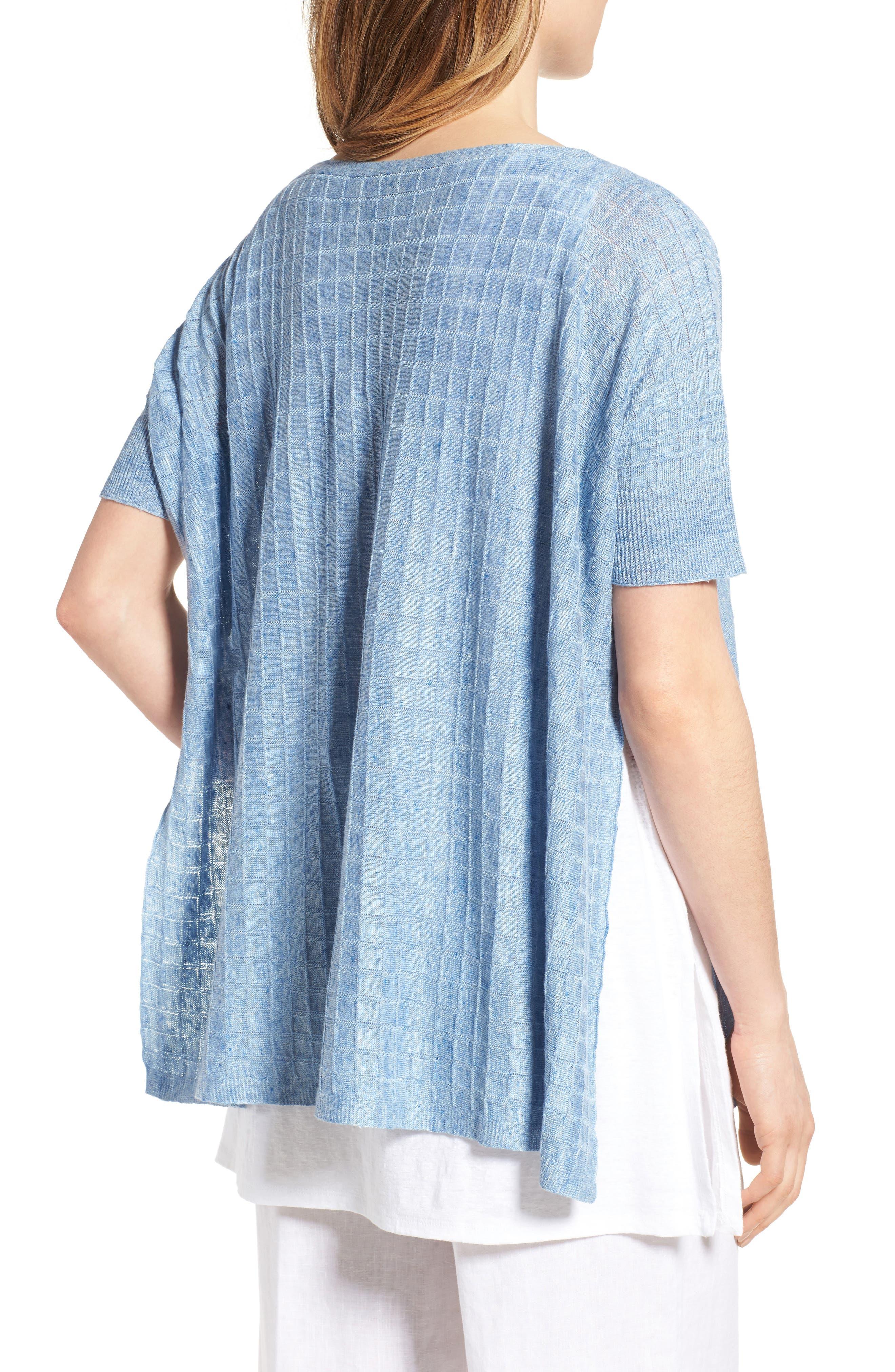 Linen Side Slit Sweater,                             Alternate thumbnail 2, color,                             Sky