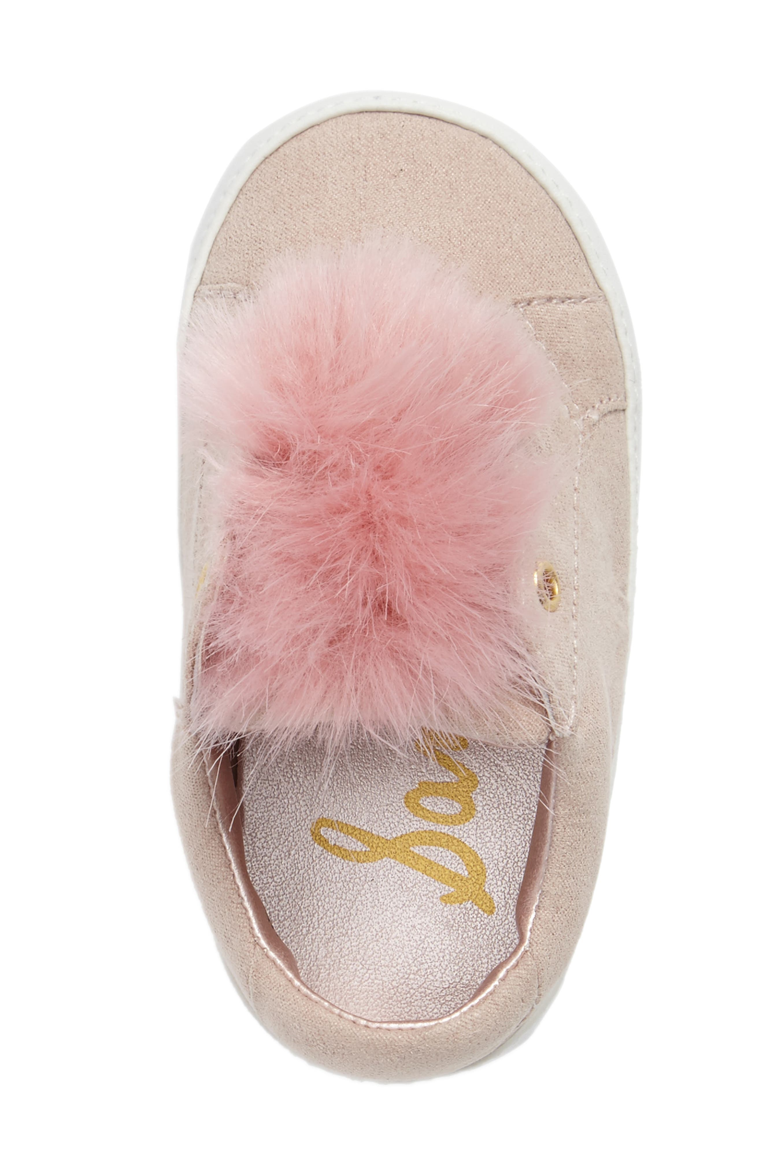 Leya Faux Fur Pompom Sneaker,                             Alternate thumbnail 5, color,                             Pink