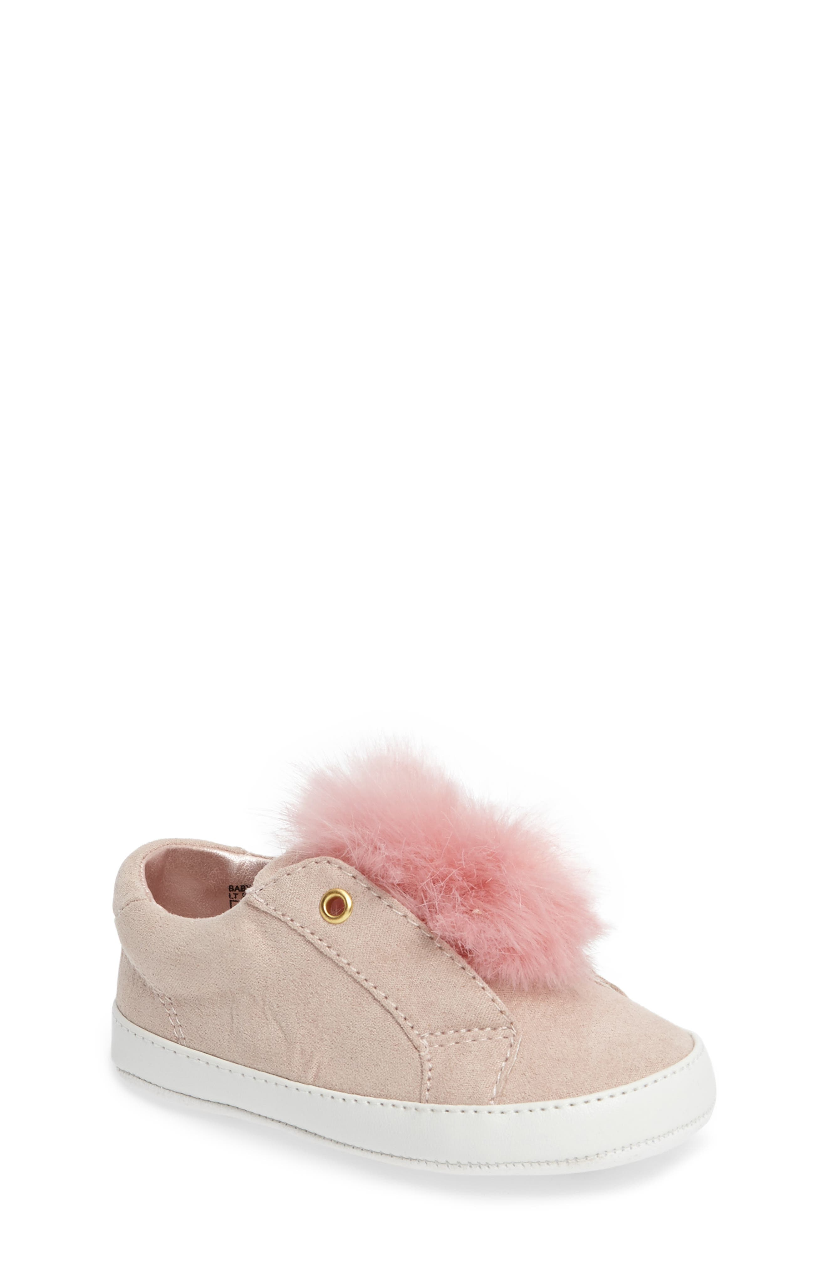 Leya Faux Fur Pompom Sneaker,                         Main,                         color, Pink