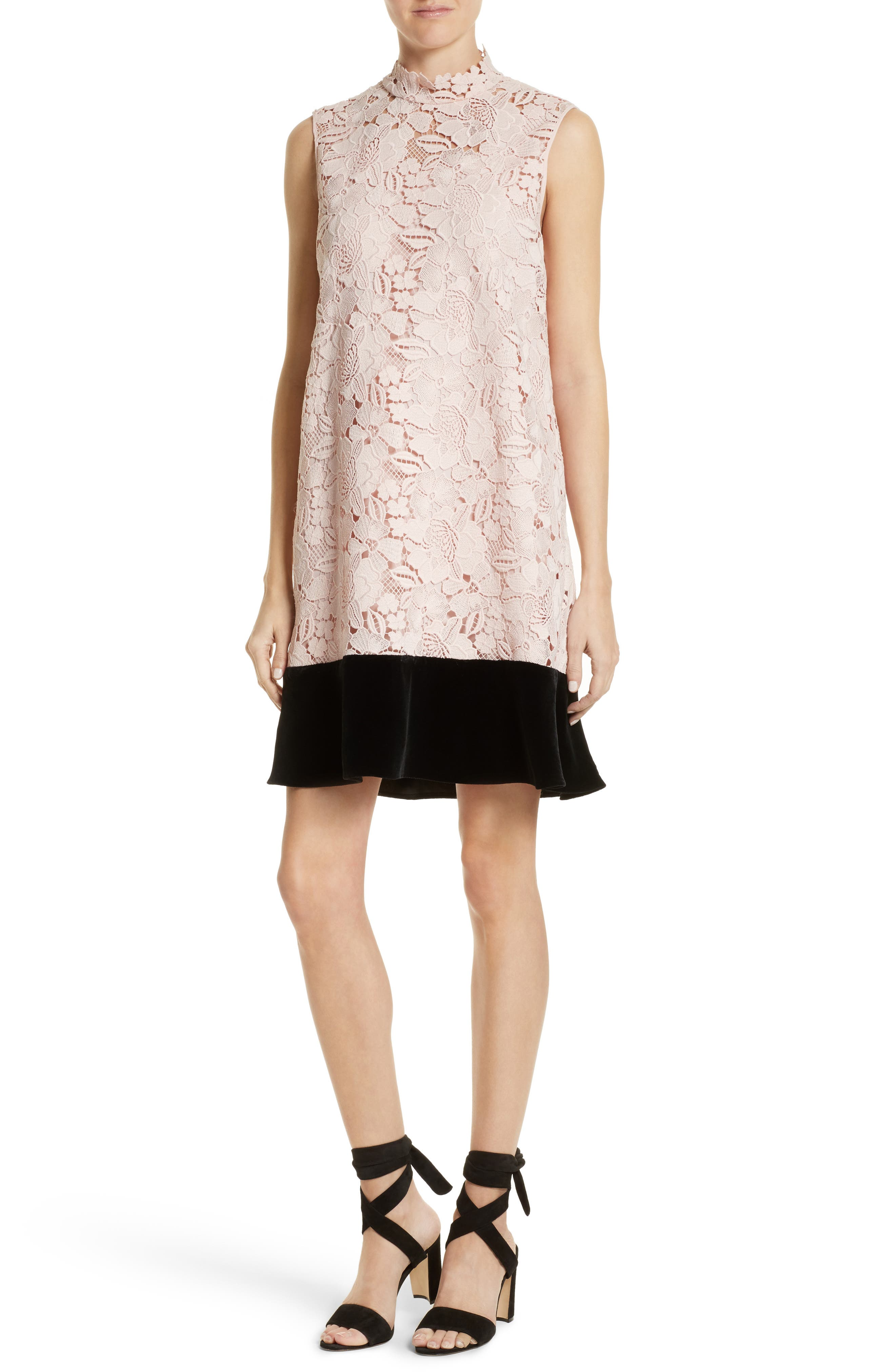 Lace & Velvet Shift Dress,                         Main,                         color, Rosa