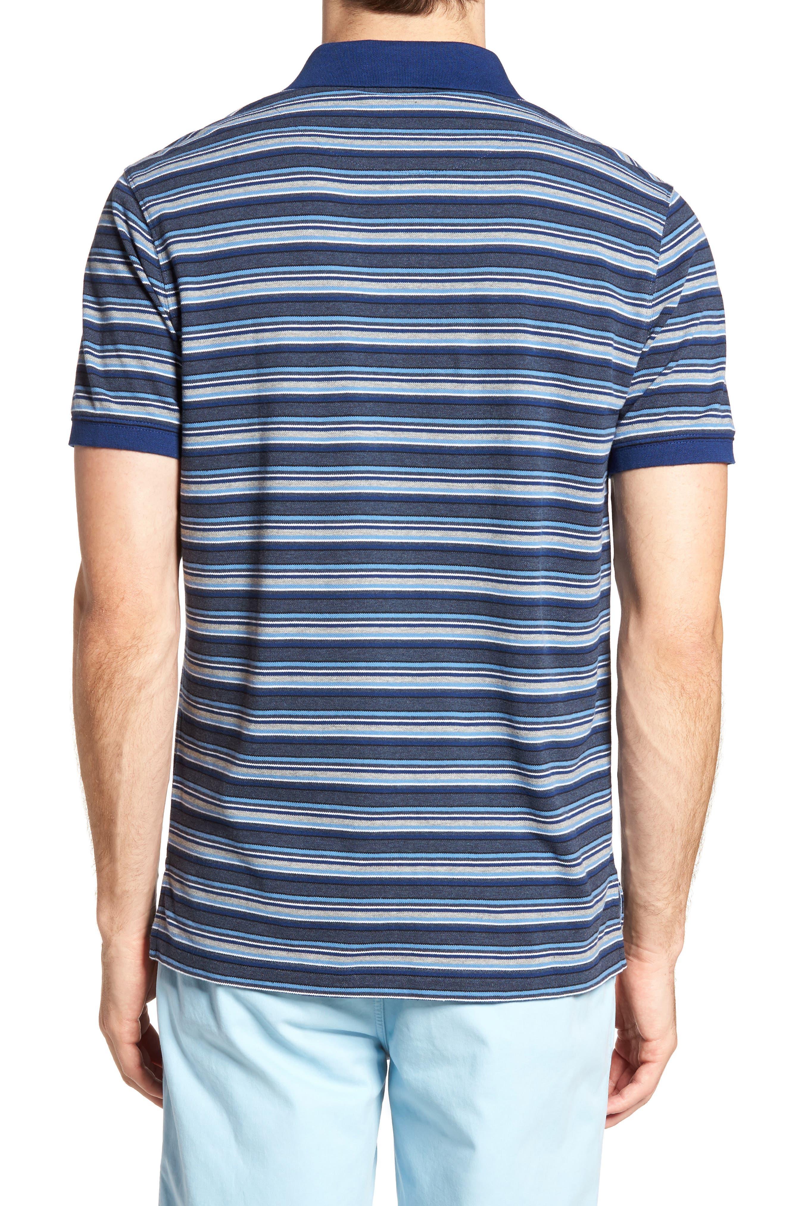 MacDonald Downs Sports Fit Stripe Piqué Polo,                             Alternate thumbnail 2, color,                             Denim