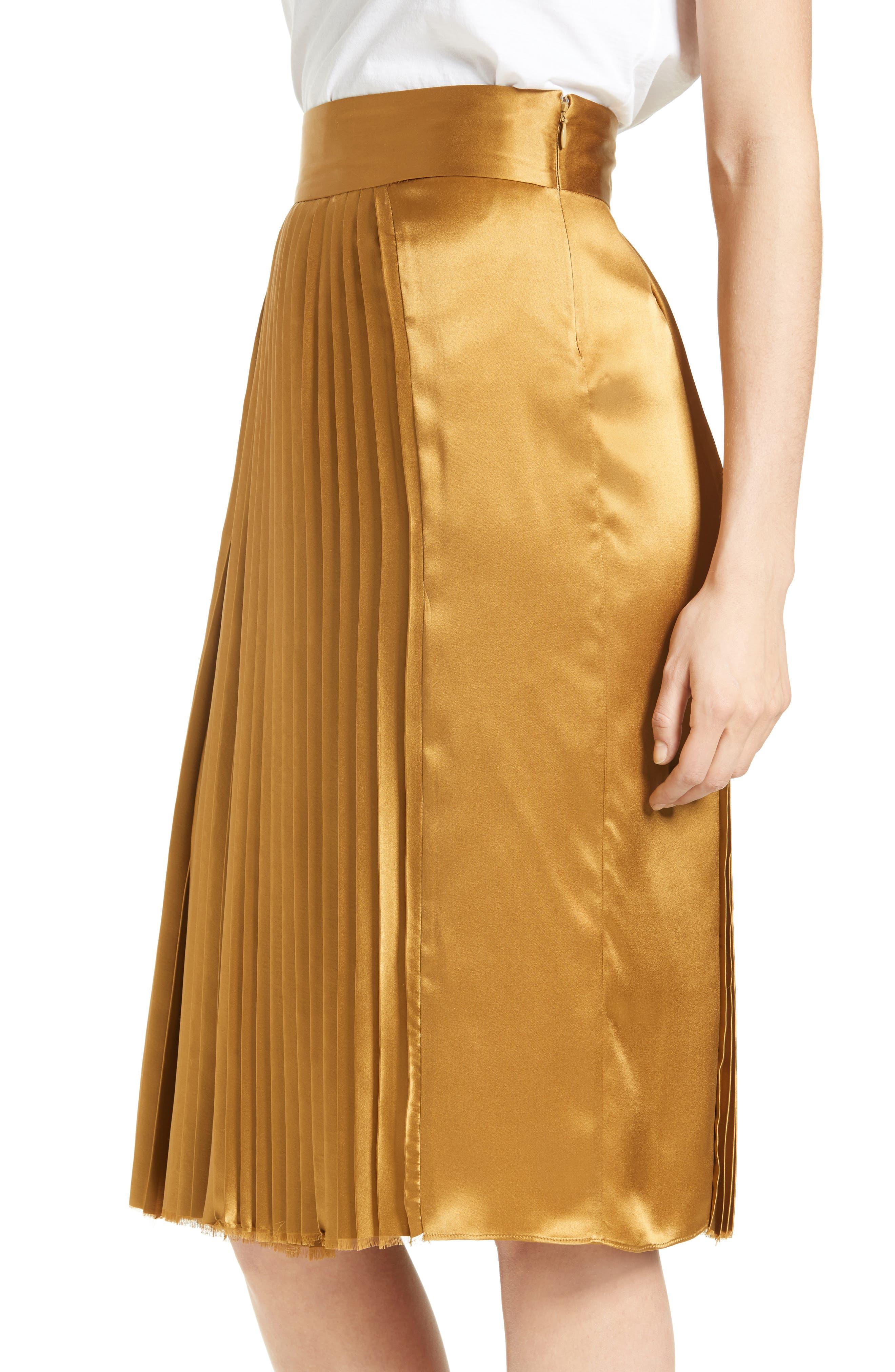 Gamil Pleated Silk Skirt,                             Alternate thumbnail 4, color,                             Bone Brown