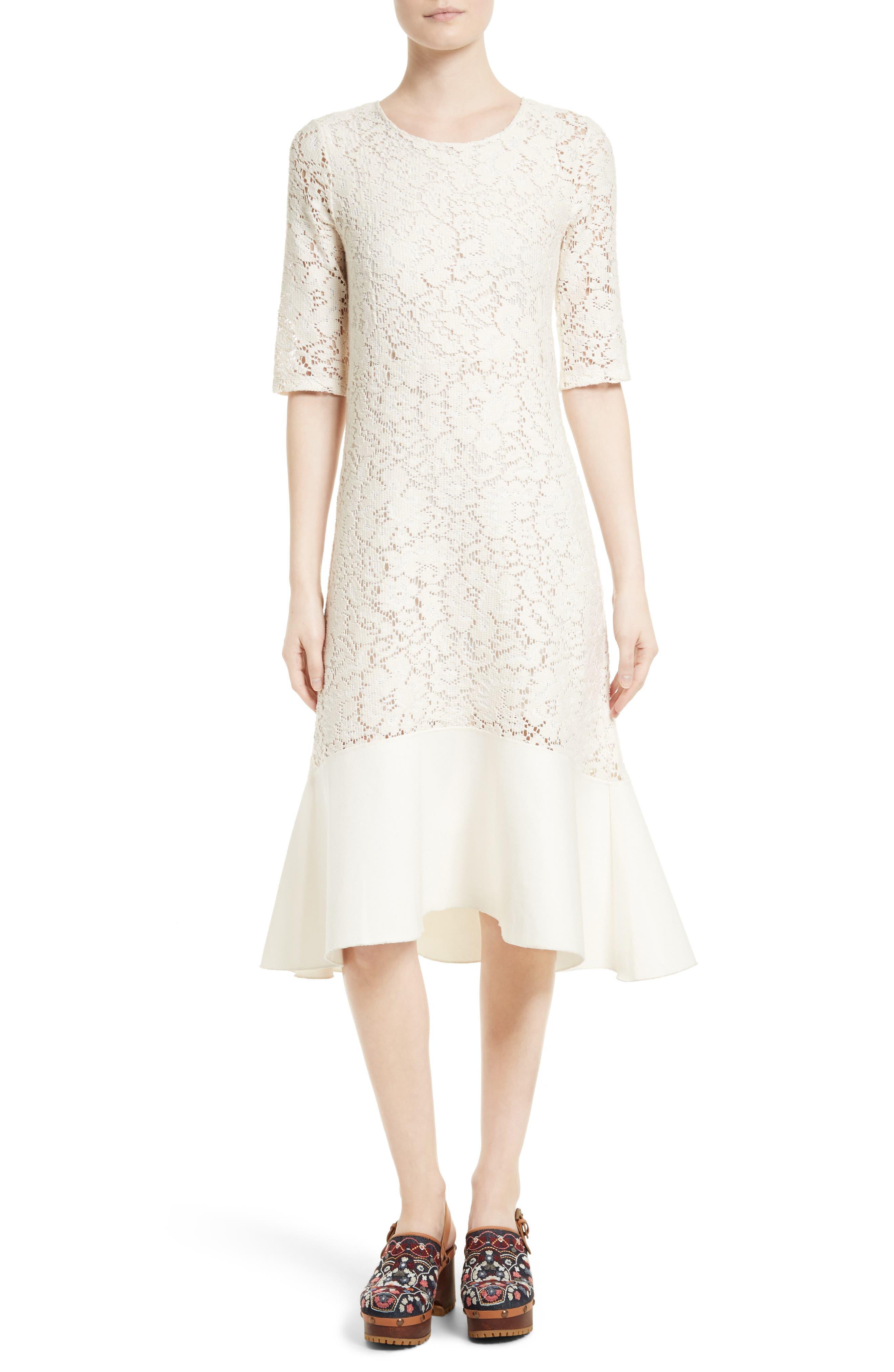 Main Image - See by Chloé Lace Flounce Hem Dress