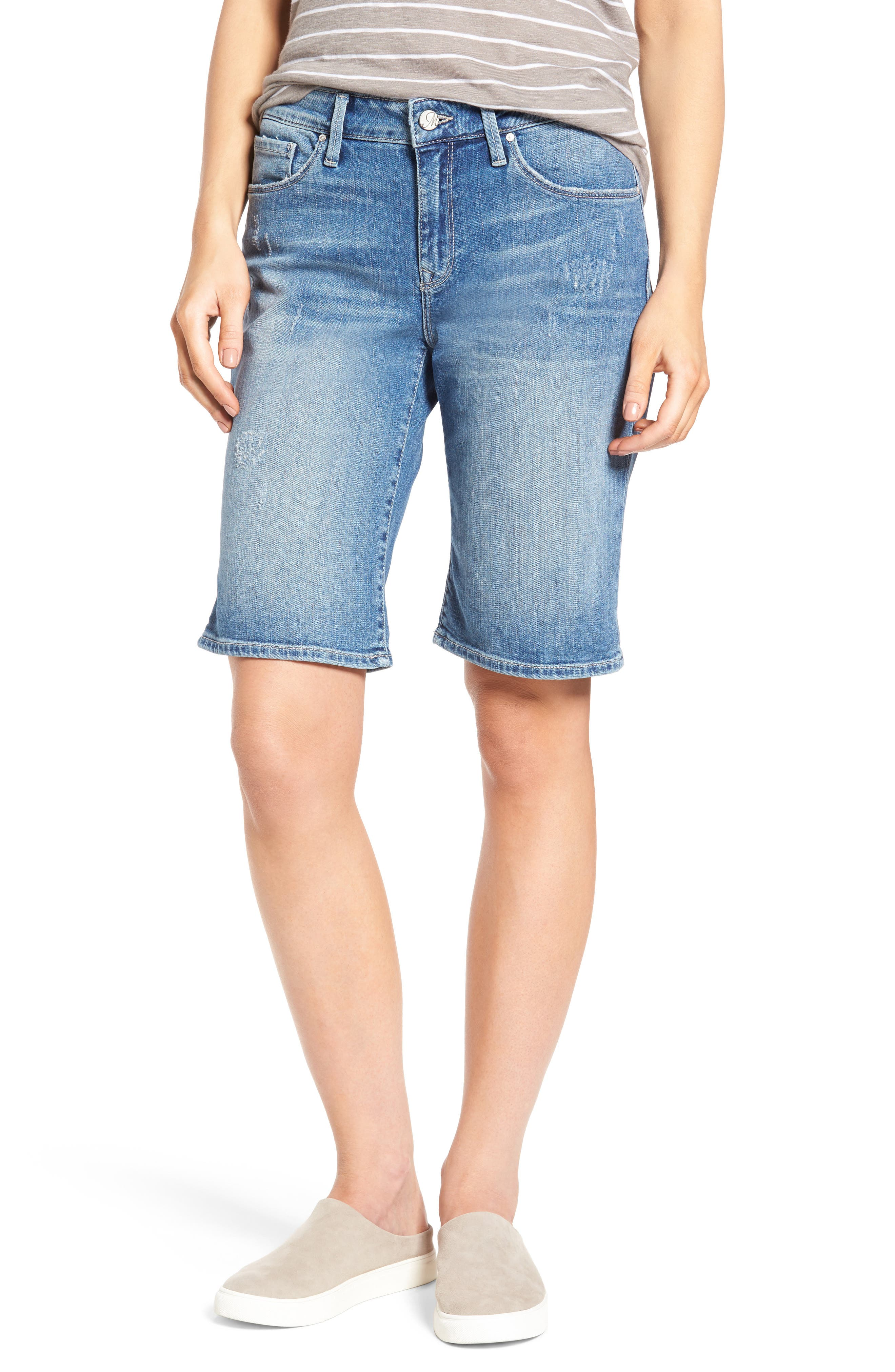 Alexis Ripped Denim Shorts,                         Main,                         color, Mid Ripped
