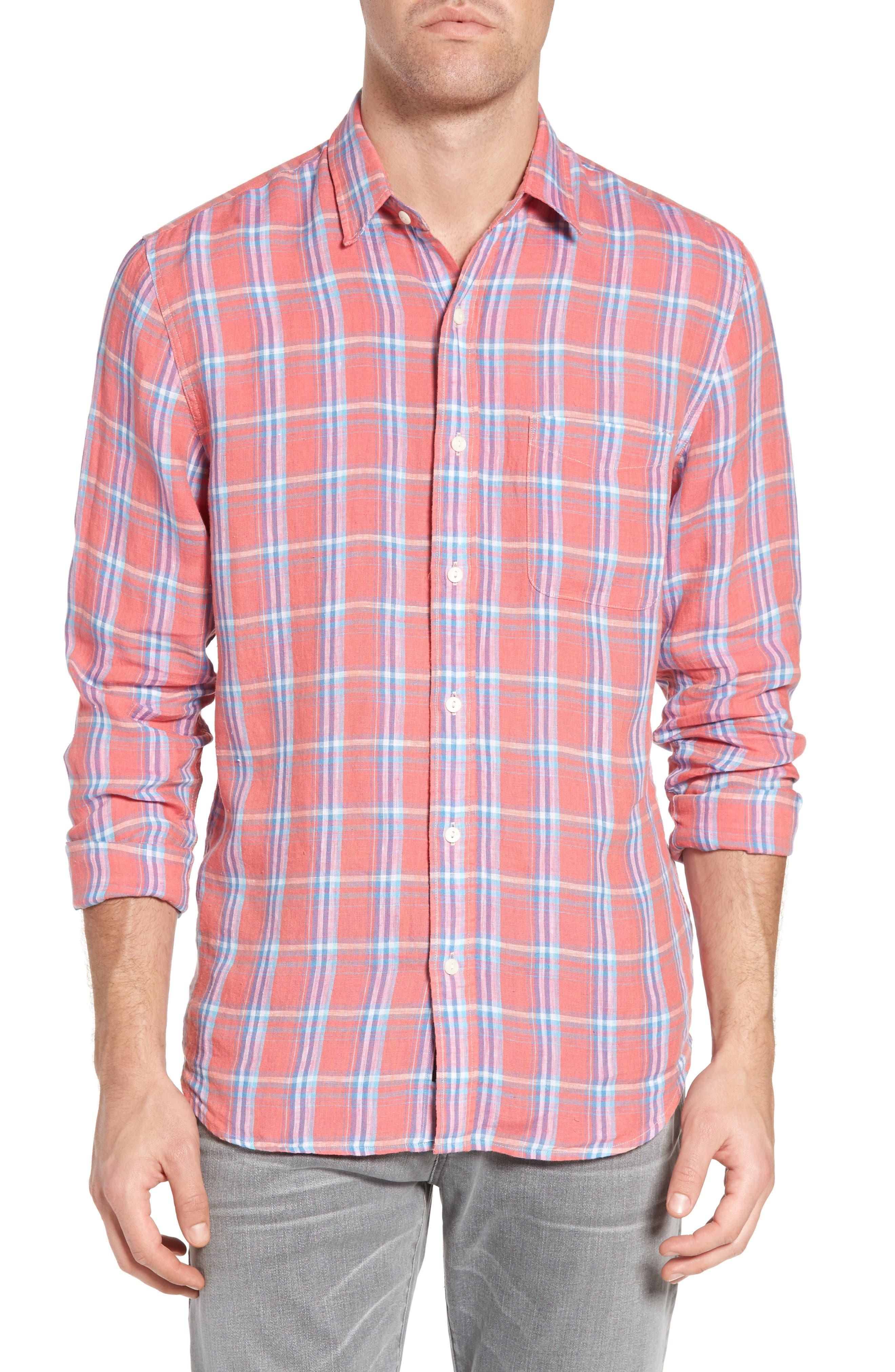 Faherty Ventura Plaid Linen Sport Shirt