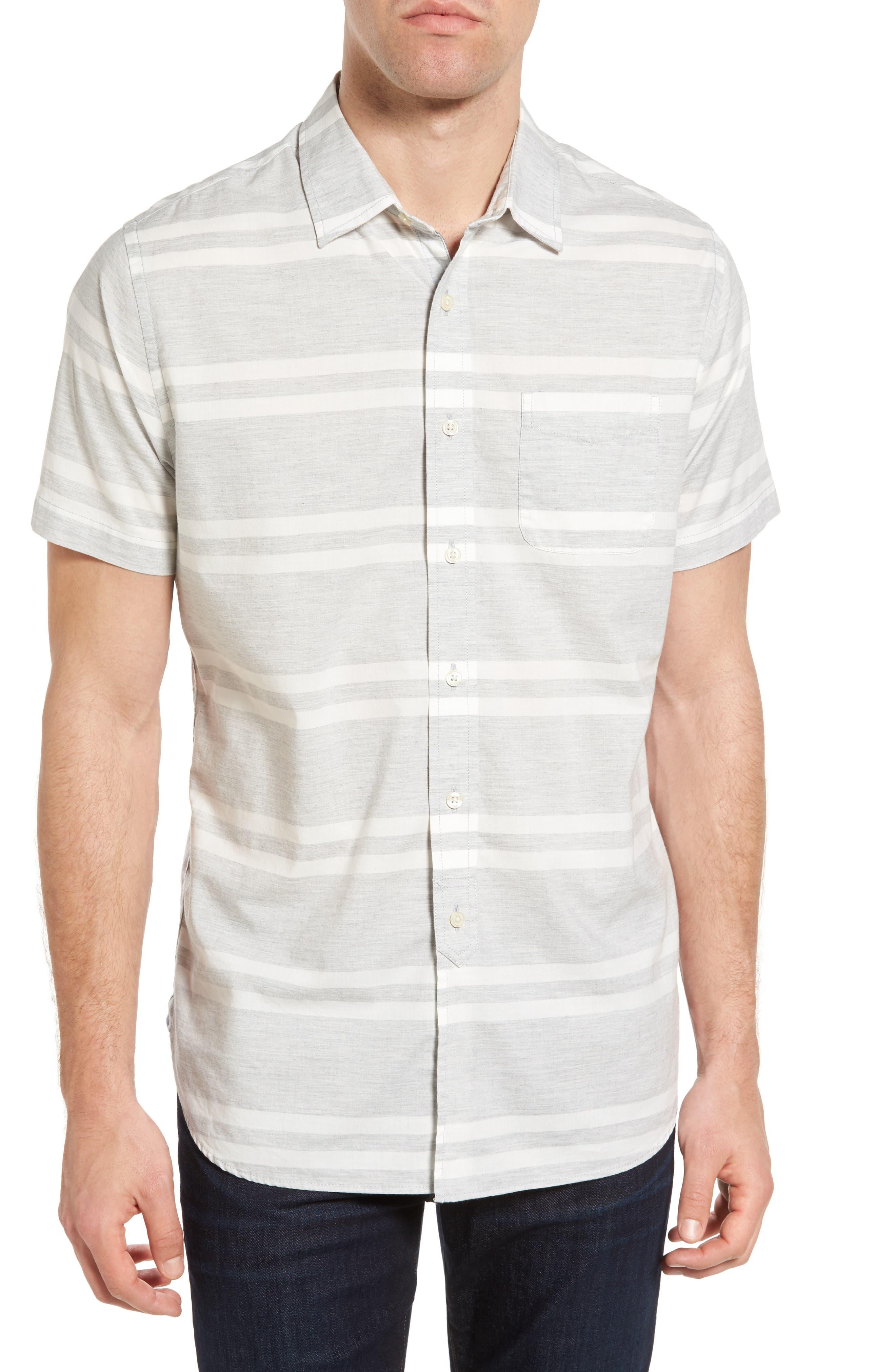 Grayers Gramercy Trim Fit Stripe Chambray Sport Shirt