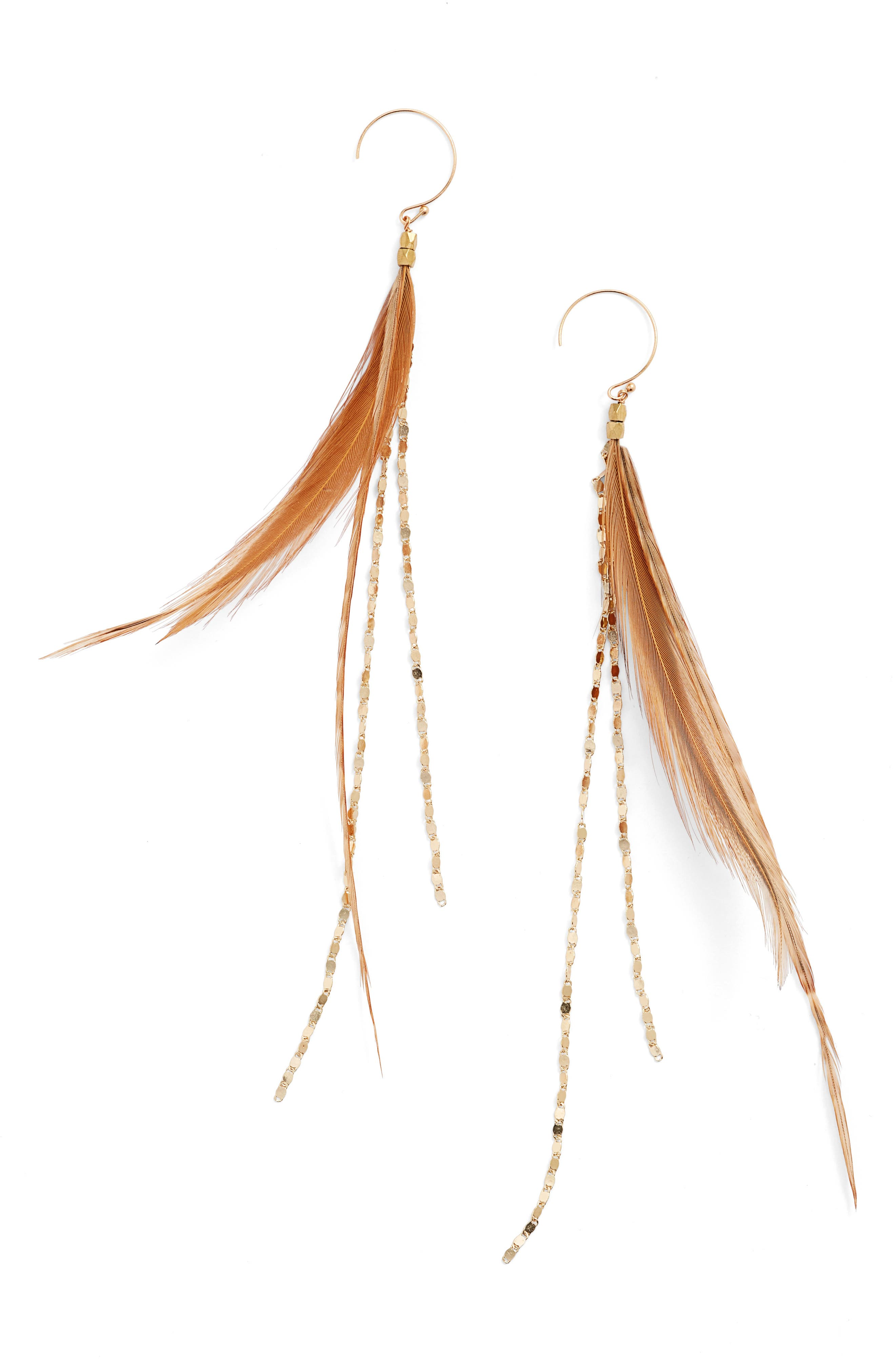 Glistening Feather Drop Earrings,                         Main,                         color, Tan/ Gold
