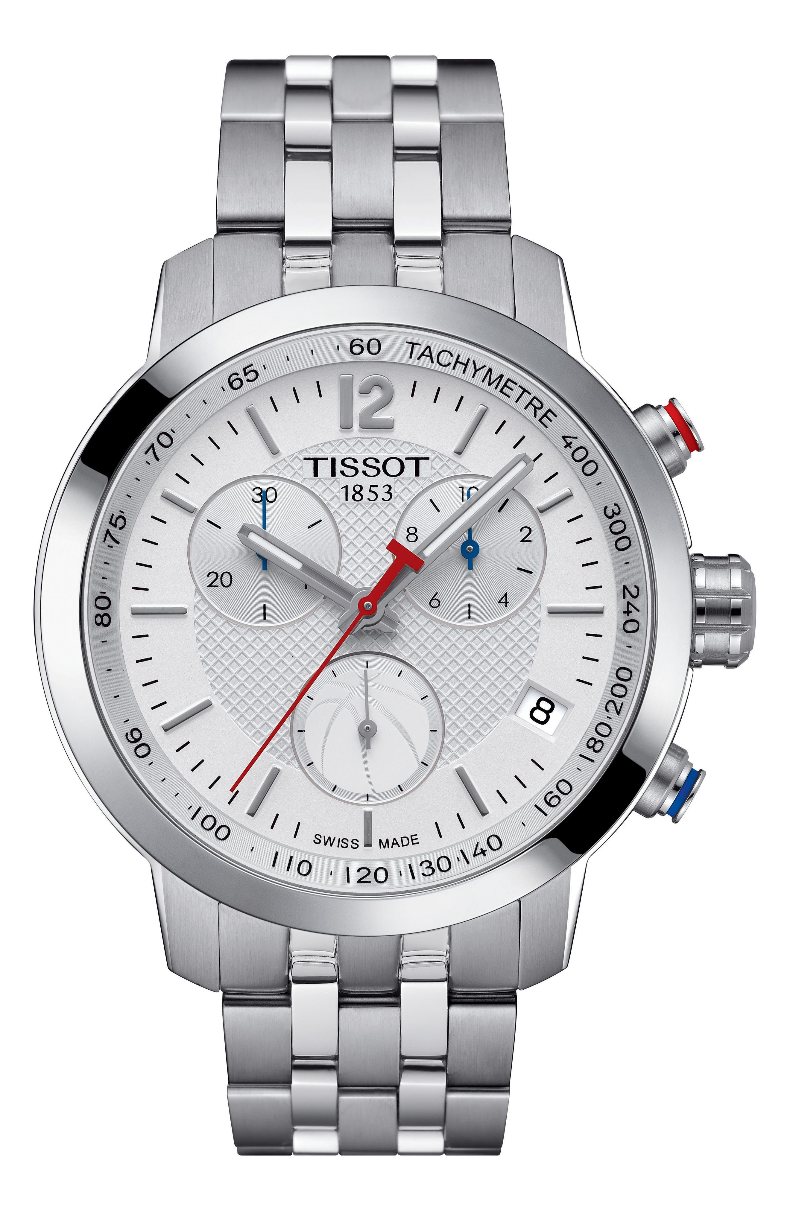 PRC200 Chronograph NBA Bracelet Watch, 41mm,                             Main thumbnail 1, color,                             Silver