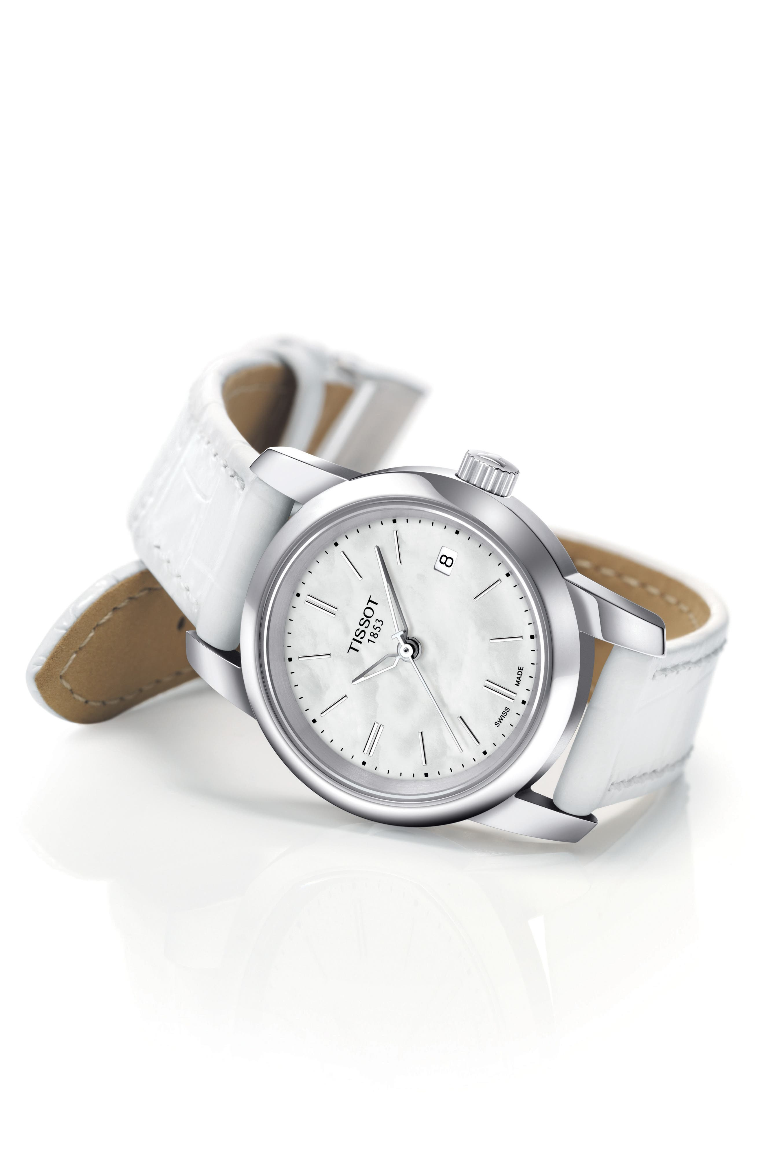 Classic Dream Leather Strap Watch, 28mm,                             Alternate thumbnail 2, color,                             White/ Mother Of Pearl/ Silver