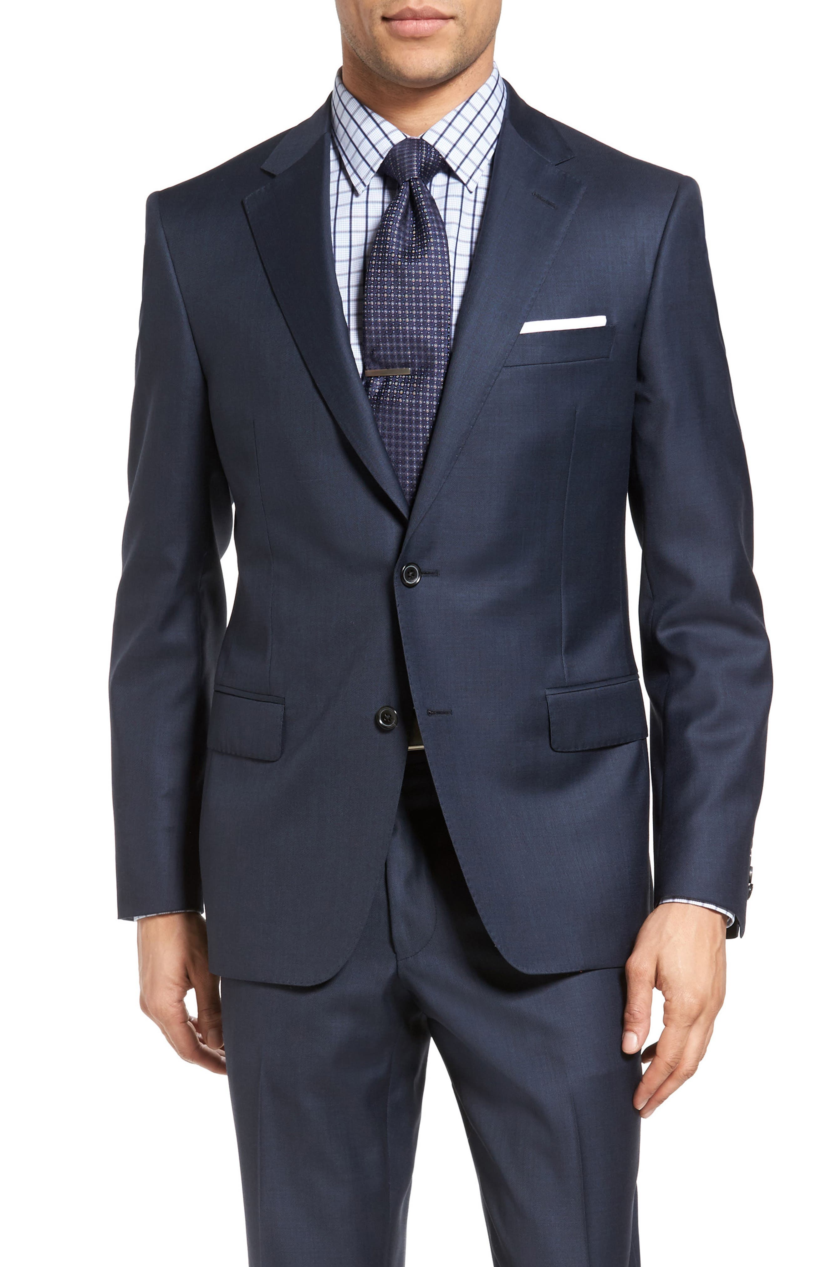 Classic Fit Sharkskin Wool Suit,                             Alternate thumbnail 5, color,                             Navy