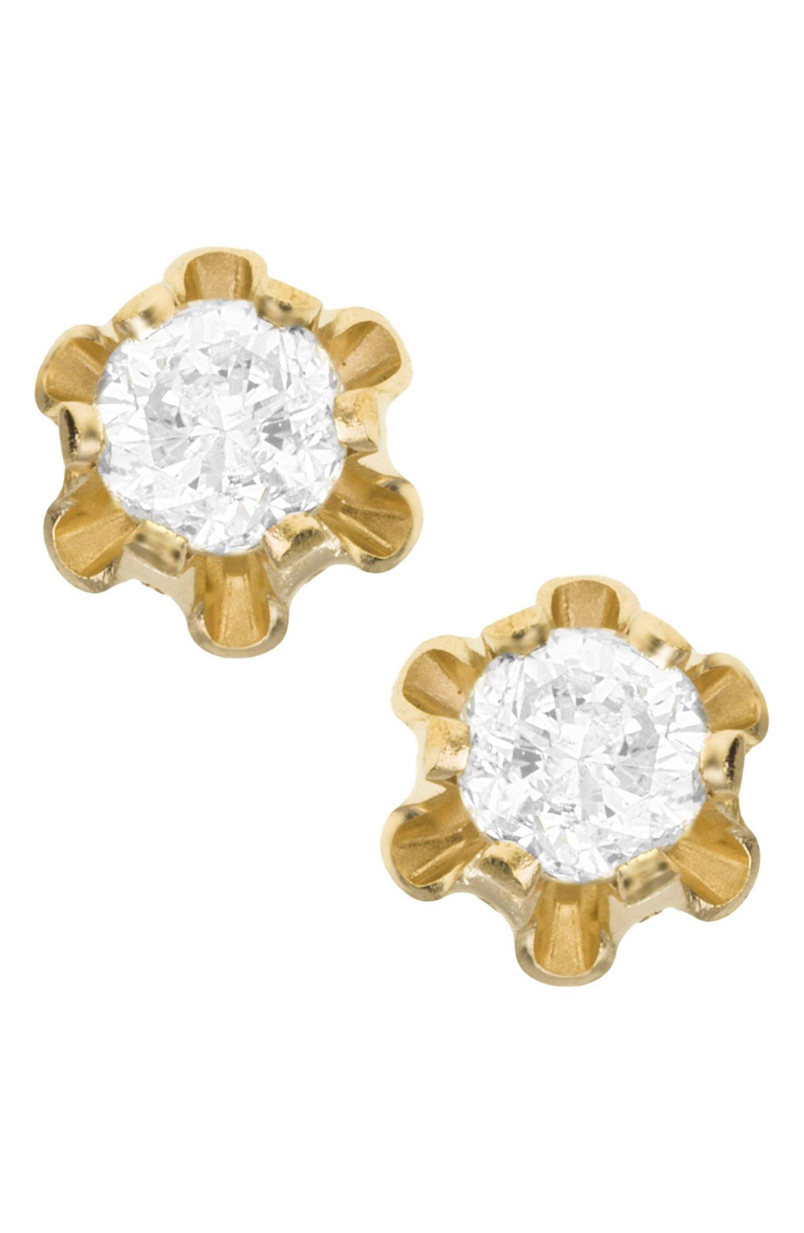 Main Image - Mignonette 14k Gold & Diamond Earrings (Baby Girls)