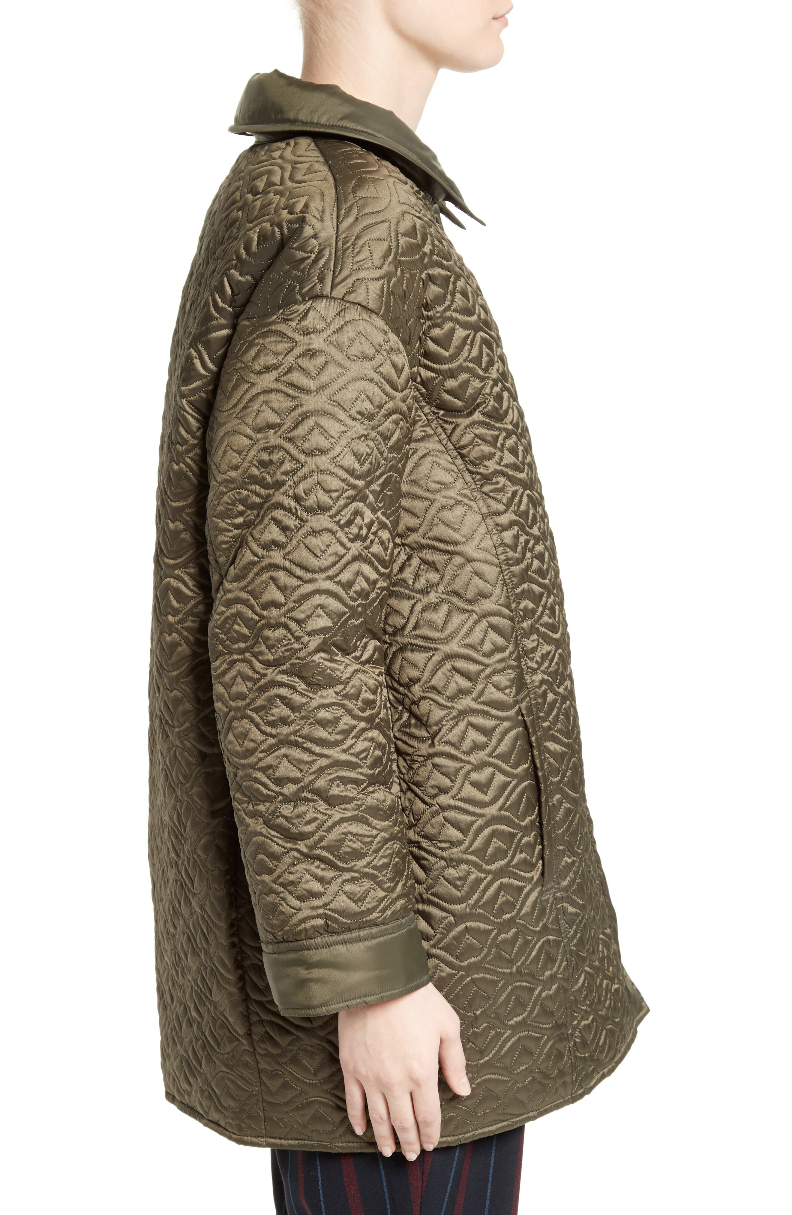 Quilted Coat,                             Alternate thumbnail 3, color,                             Army Green