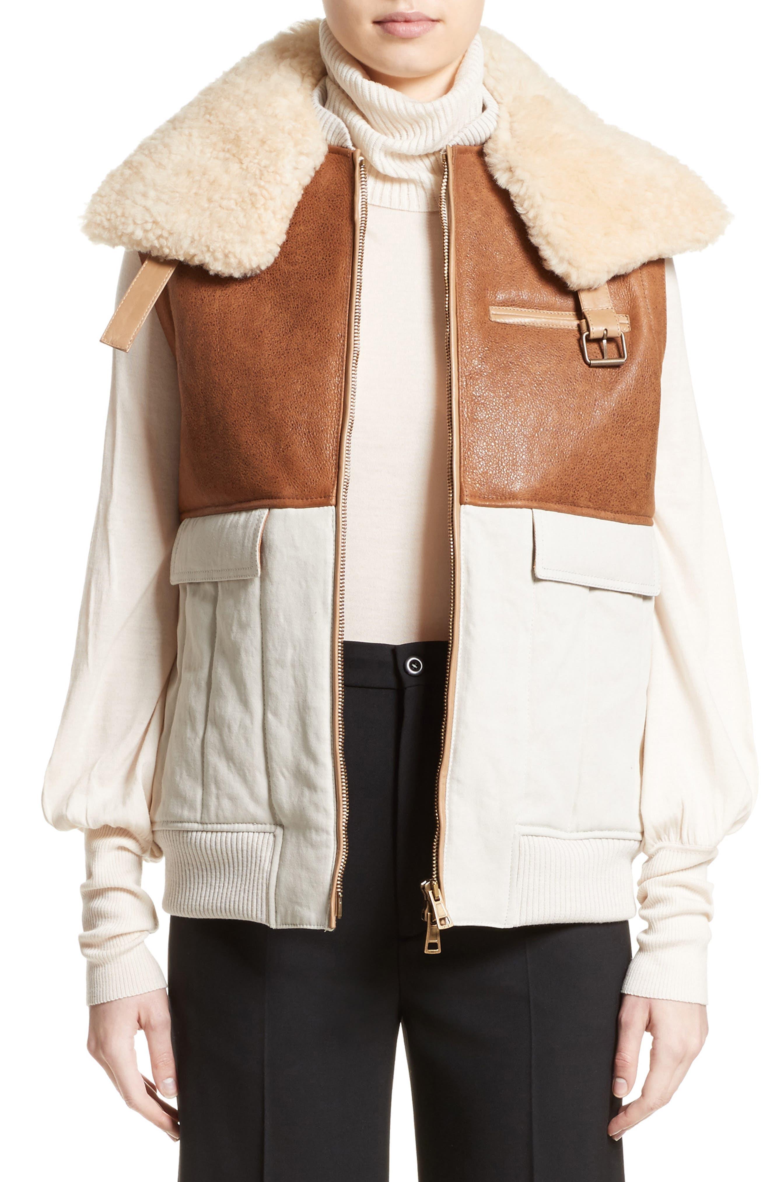 CHLOÉ Genuine Shearling Trim Leather & Cotton Vest