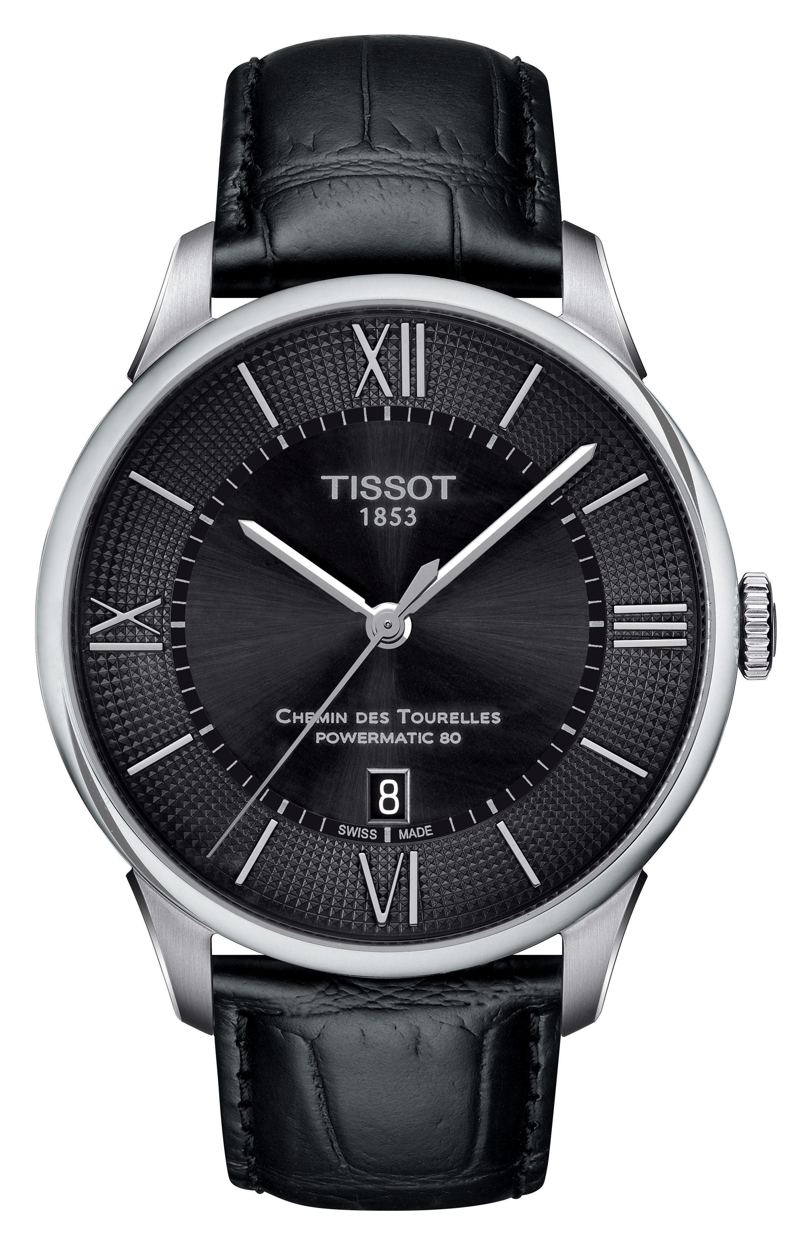 Alternate Image 1 Selected - Tissot Chemin Des Tourelles Automatic Leather Strap Watch, 42mm