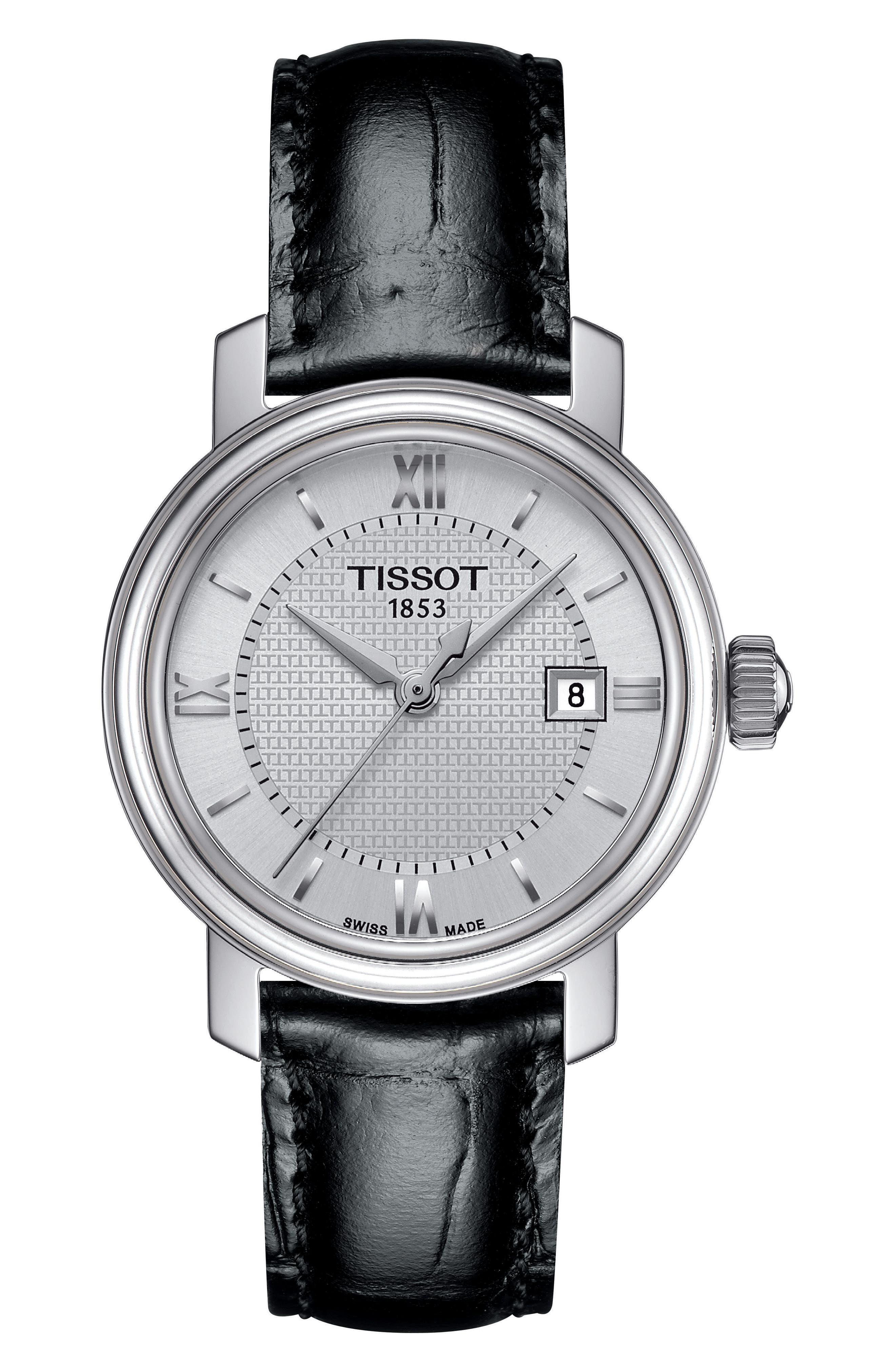 TISSOT Bridgeport Leather Strap Watch, 29mm