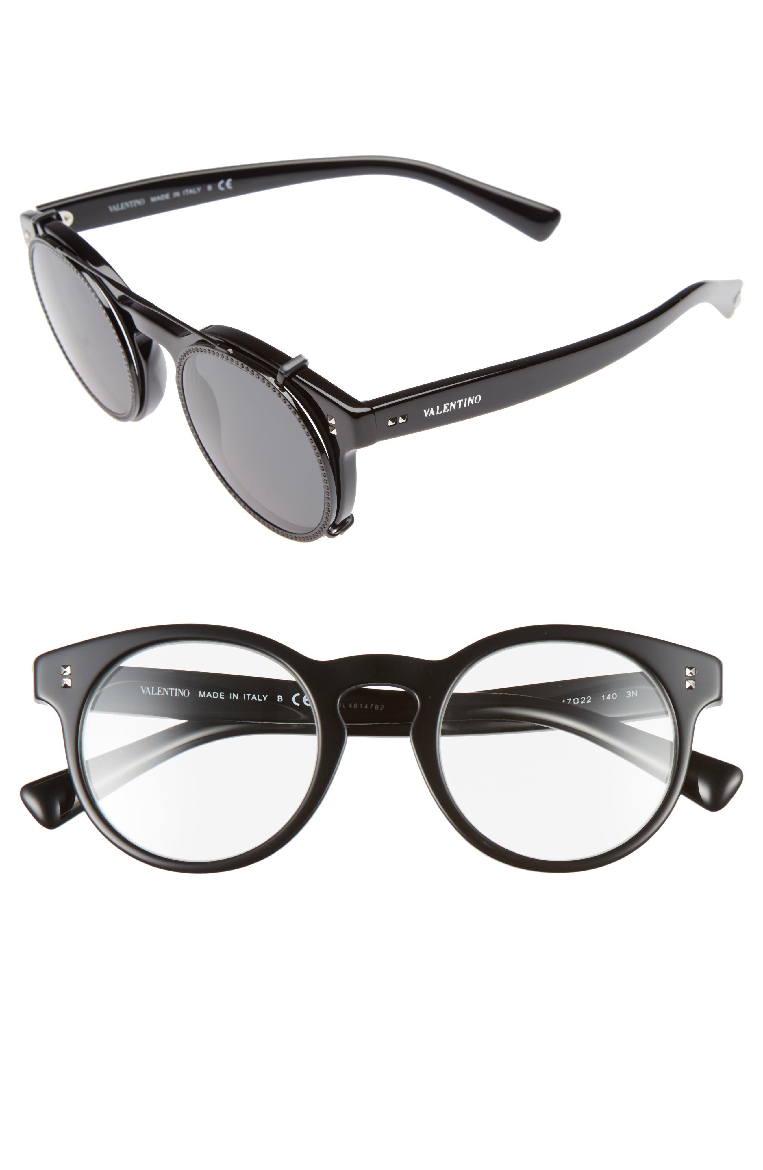 47mm Round Sunglasses,                         Main,                         color, Black/ Black Swarovski