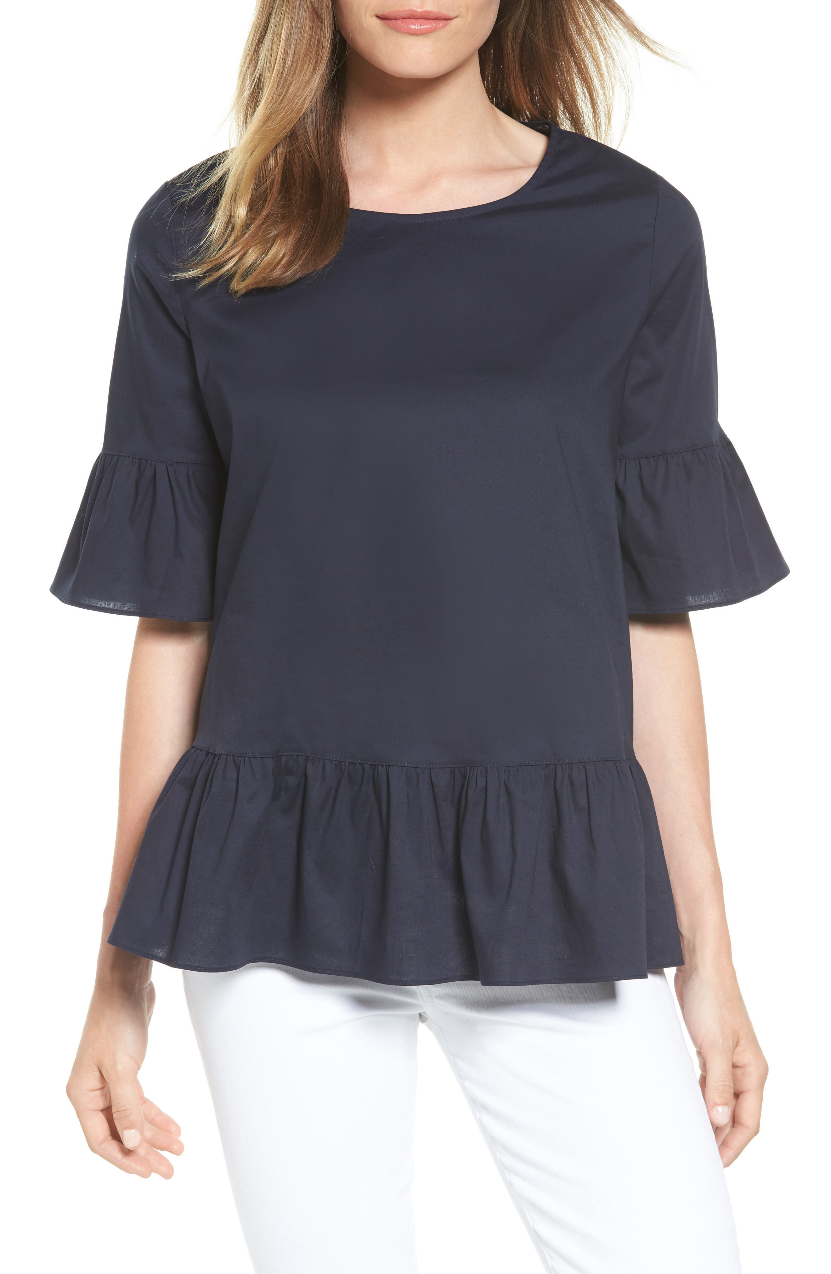 Back Button Ruffle Top,                             Main thumbnail 1, color,                             Navy