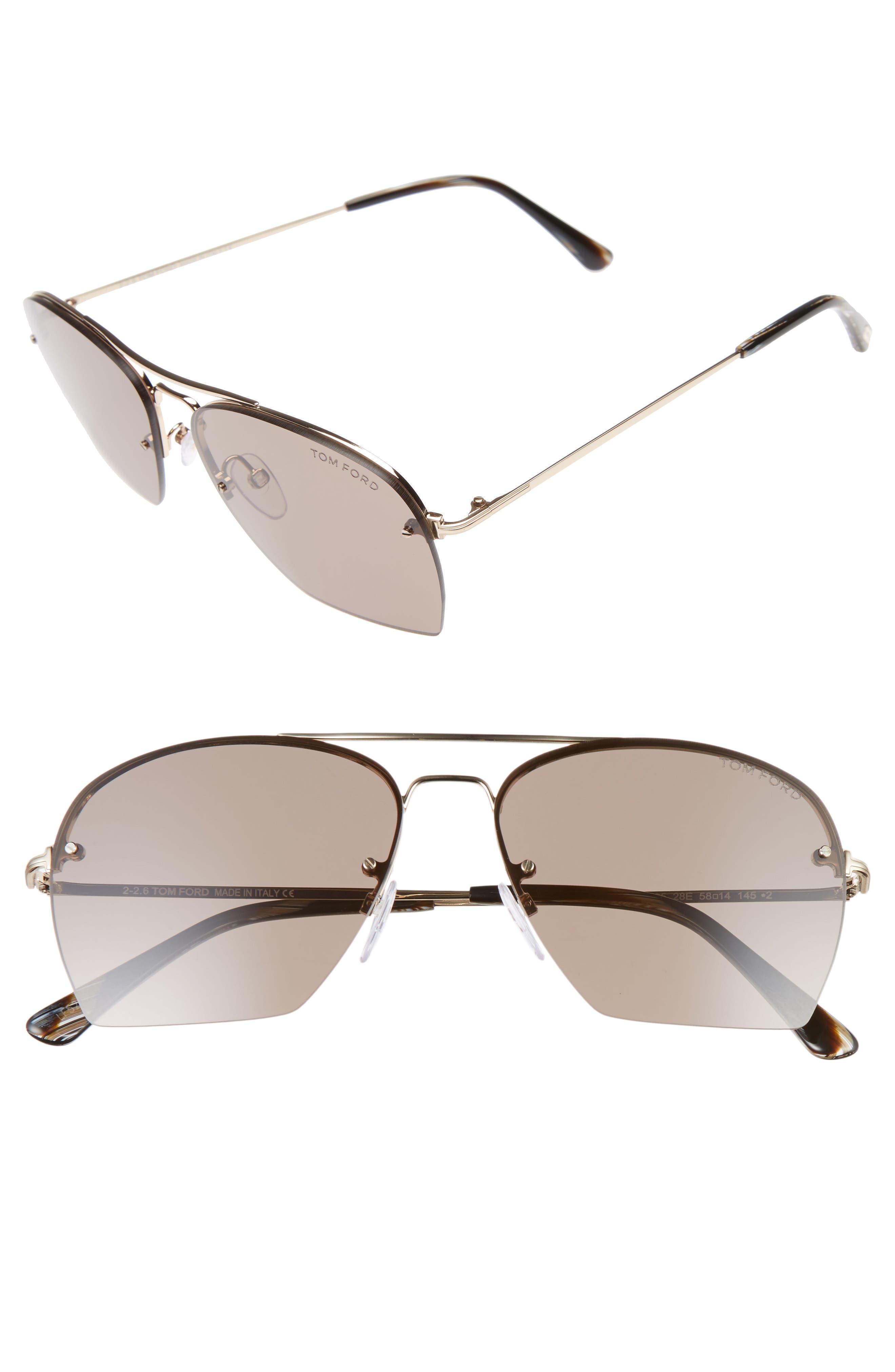 Whelan 58mm Aviator Sunglasses,                         Main,                         color, Rose Gold/ Brown/ Horn Brown