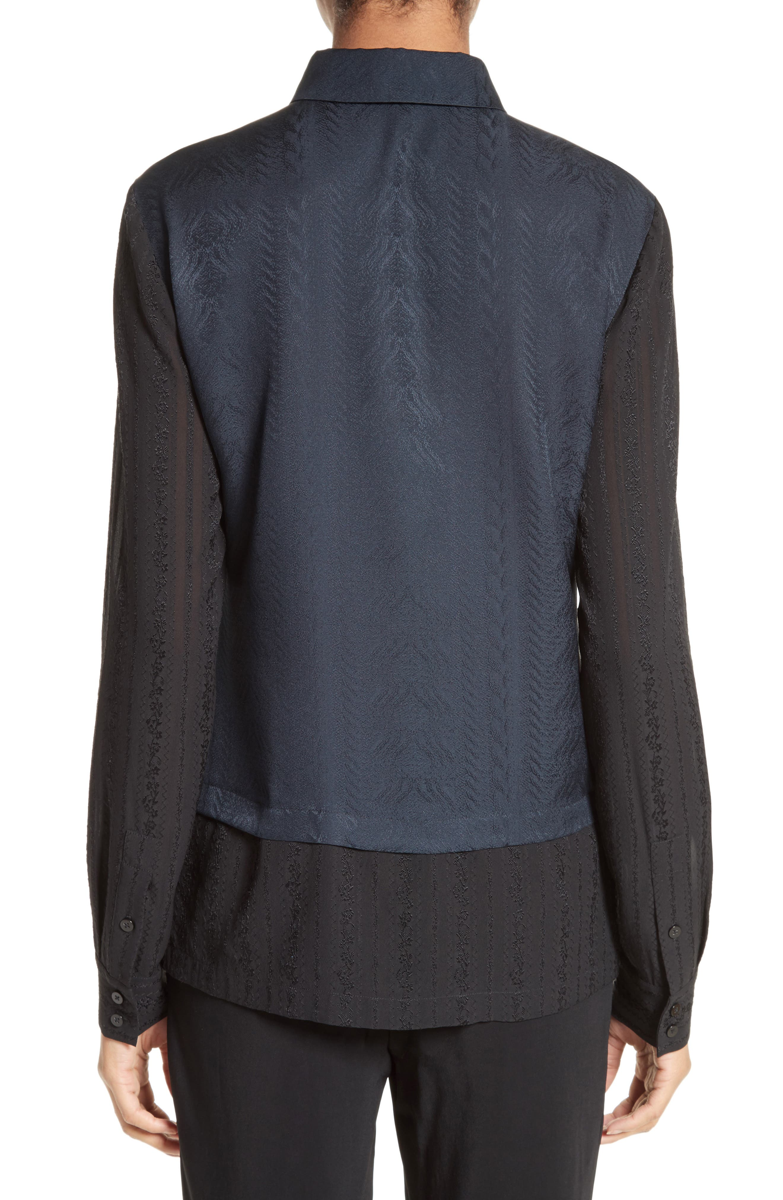 Embroidered Silk Jacquard Blouse,                             Alternate thumbnail 2, color,                             Midnight