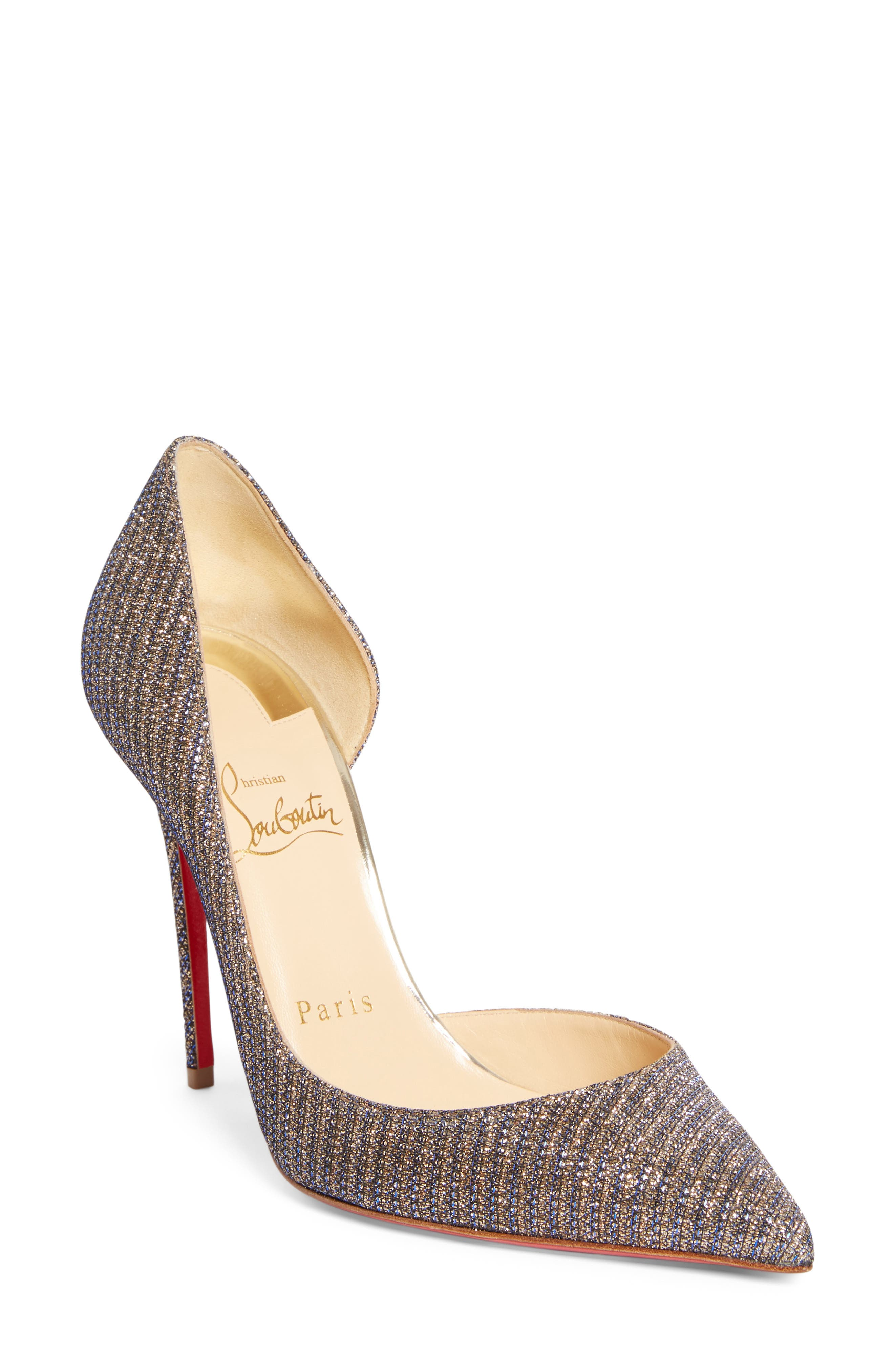 Alternate Image 1 Selected - Christian Louboutin 'Iriza' Half d'Orsay Glitter Pump
