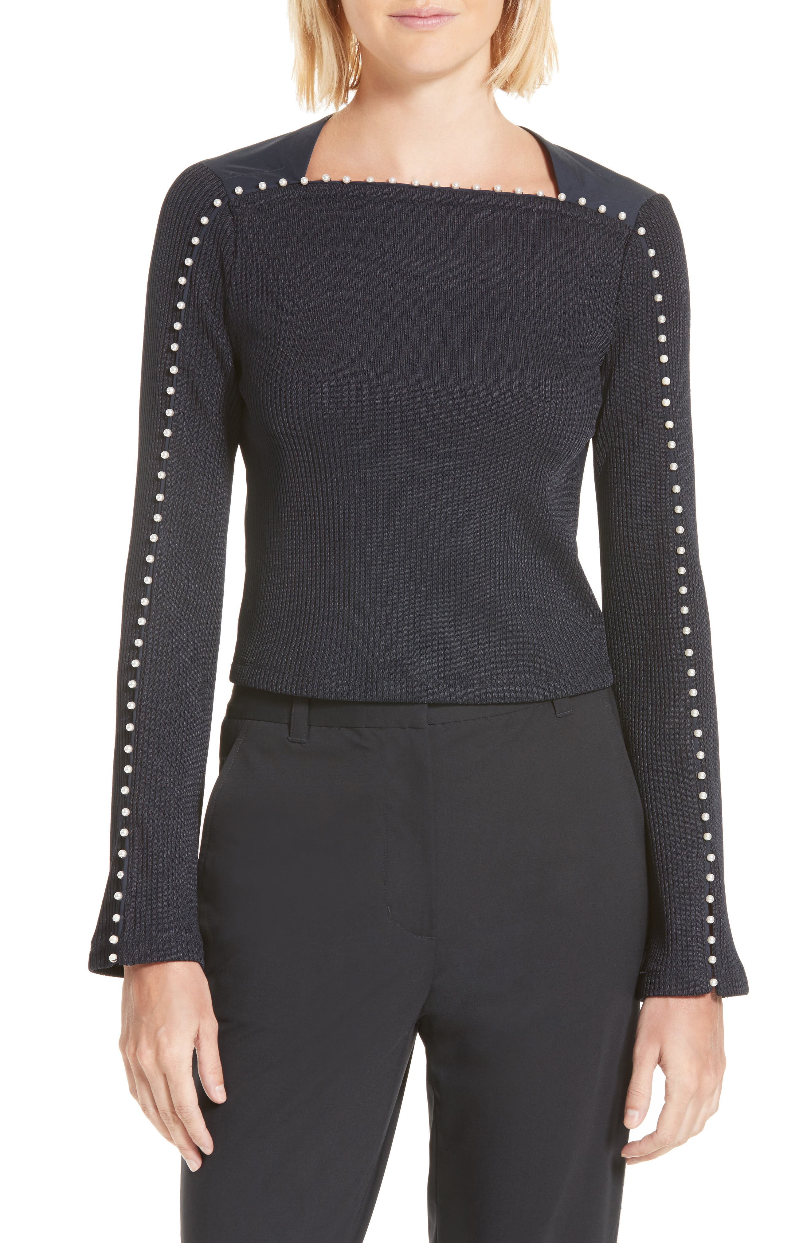 3.1 Phillip Lim Faux Pearl Trim Rib Knit Top